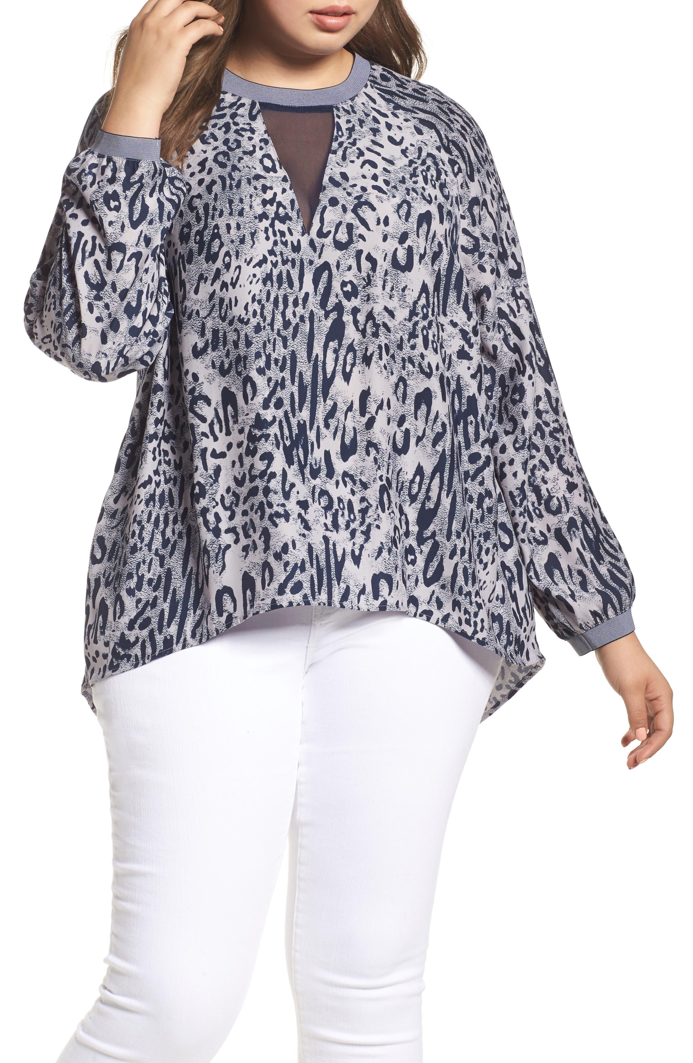 Alternate Image 1 Selected - Melissa McCarthy Seven7 Leopard Print Raglan Blouse (Plus Size)