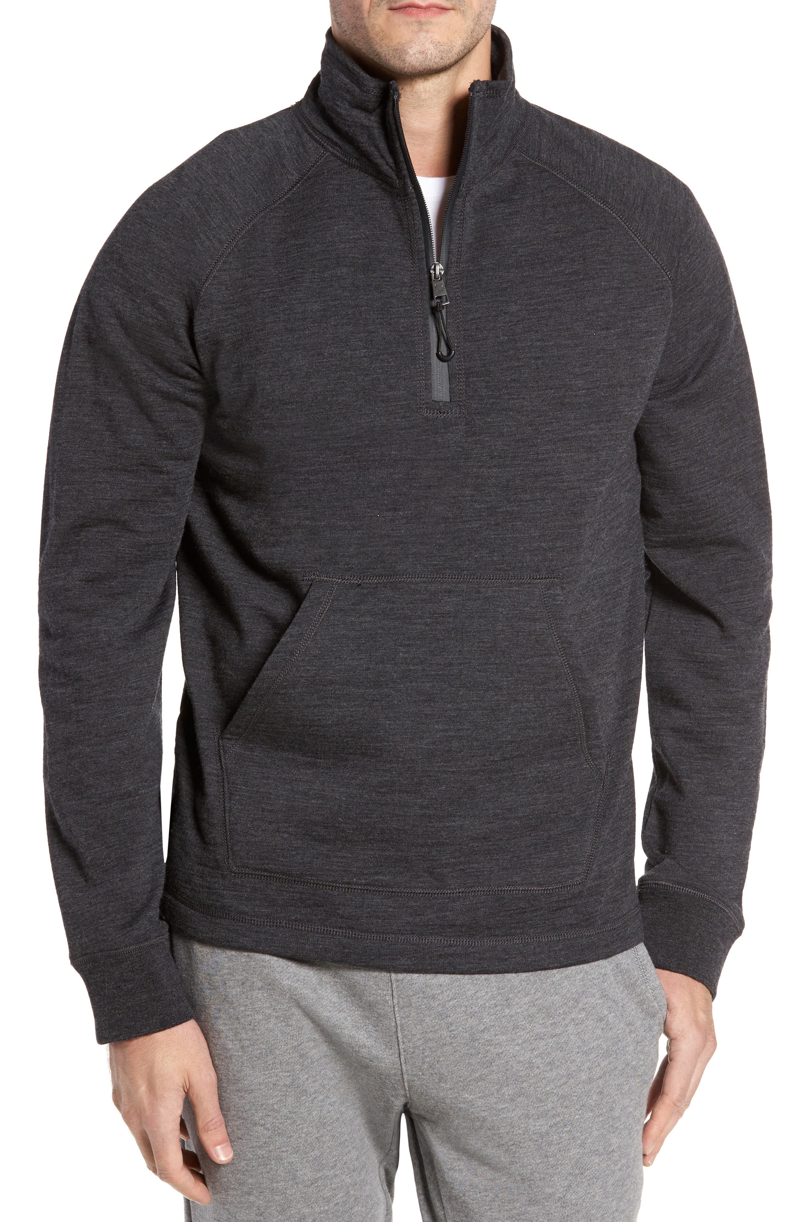 Merino Wool Quarter Zip Pullover,                         Main,                         color, Charcoal