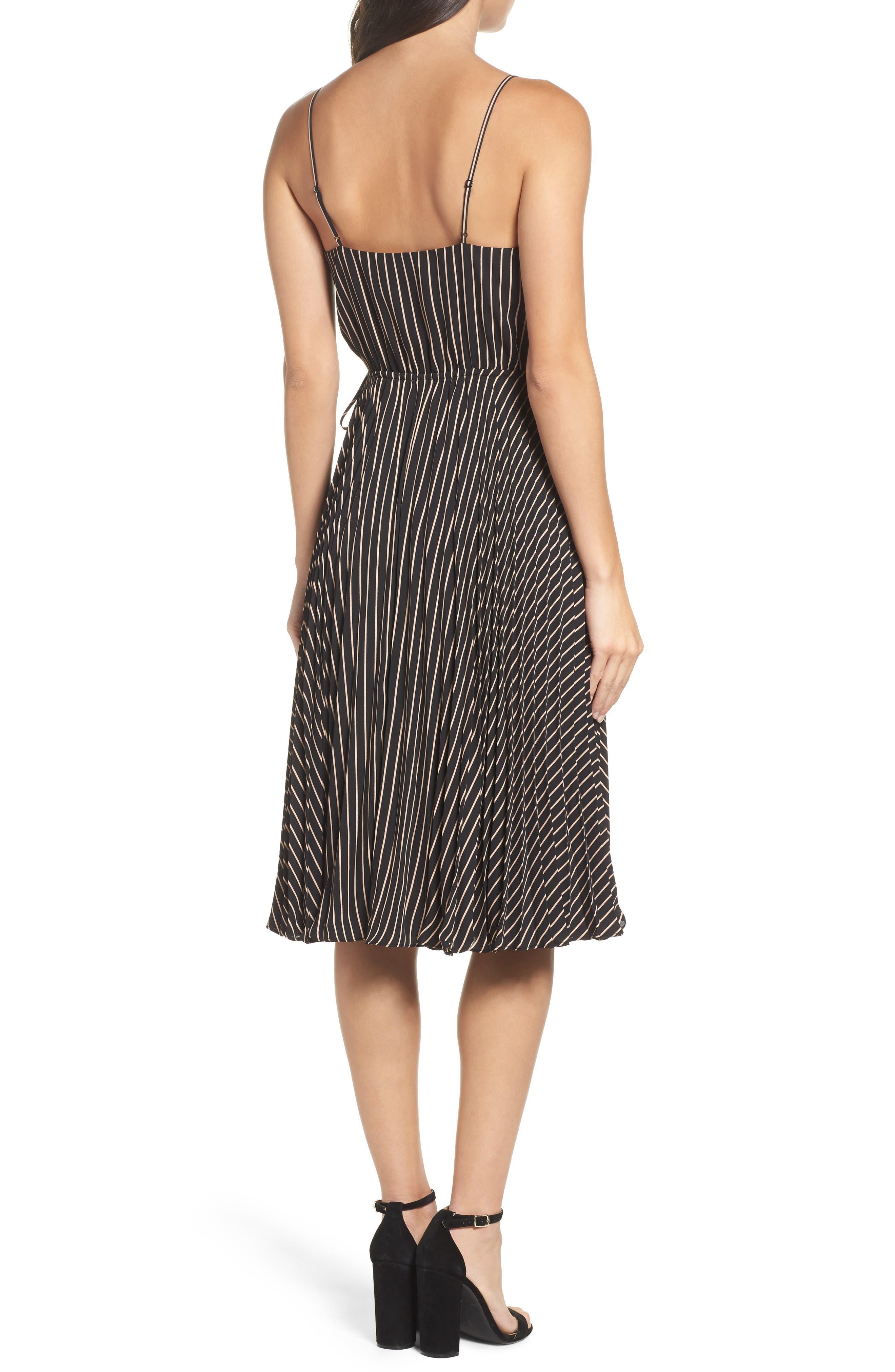 Like a Boss Midi Dress,                             Alternate thumbnail 2, color,                             Black/ Tan Stripe