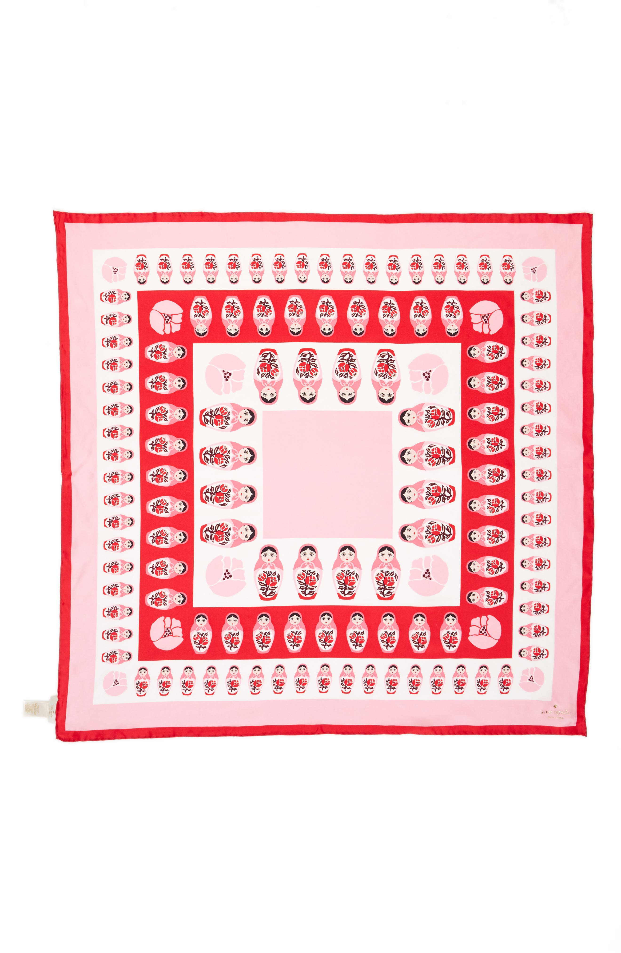 nesting dolls silk scarf,                             Alternate thumbnail 2, color,                             Charm Red