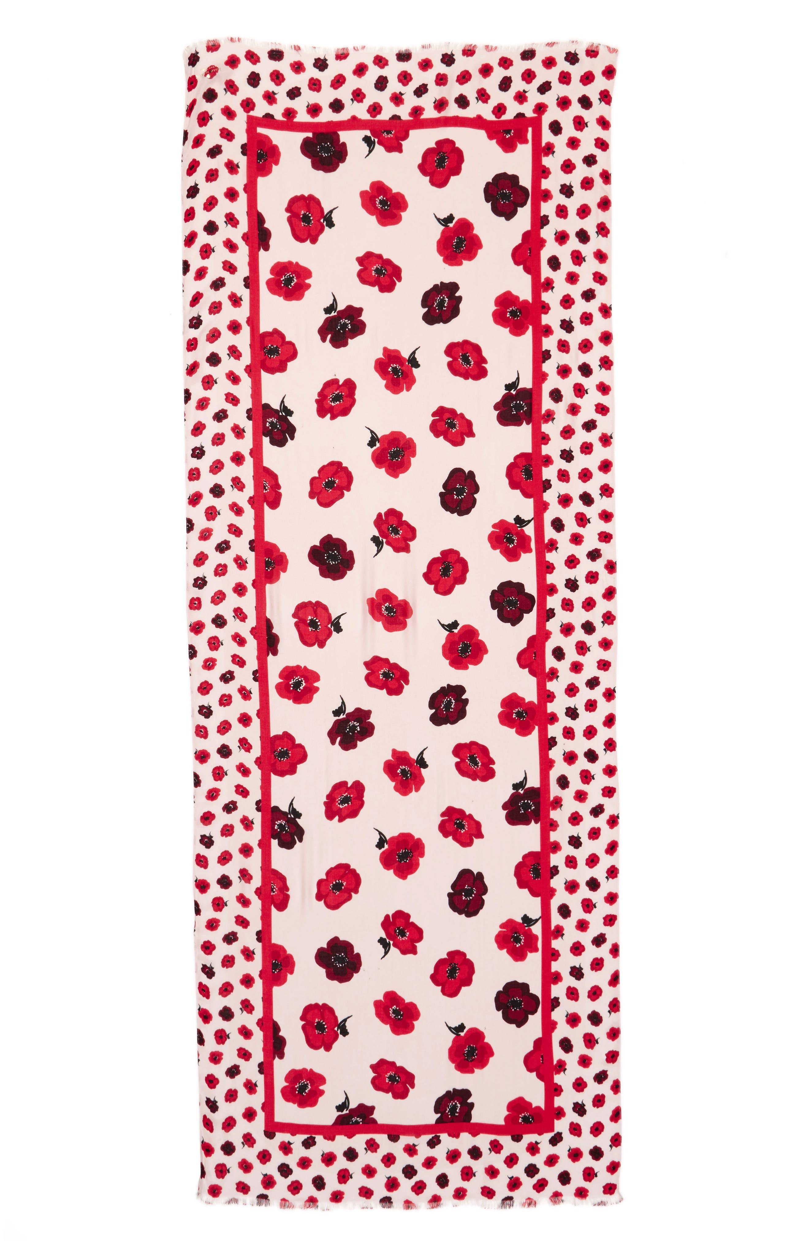 falling poppy scarf,                             Alternate thumbnail 2, color,                             Rose