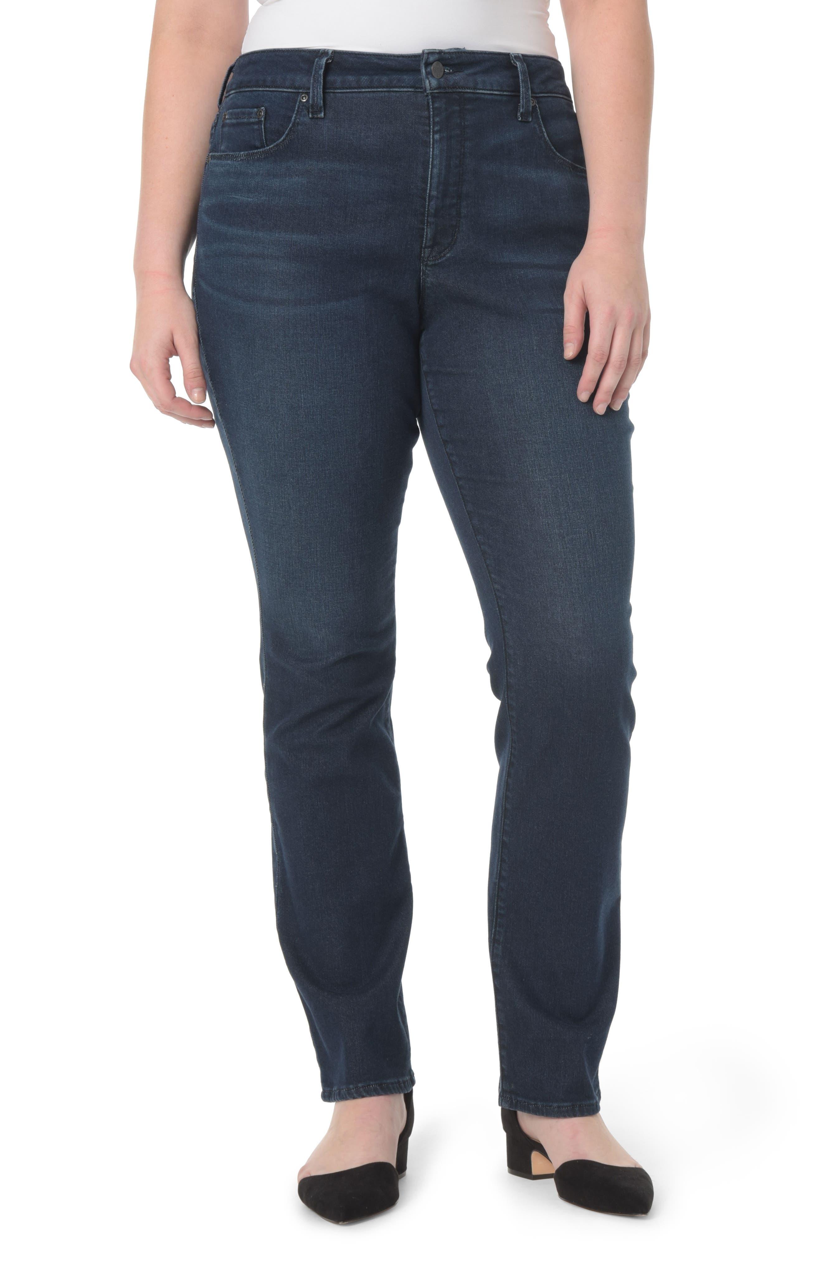 Alternate Image 1 Selected - NYDJ Marilyn Stretch Straight Leg Jeans (Morgan) (Plus Size)