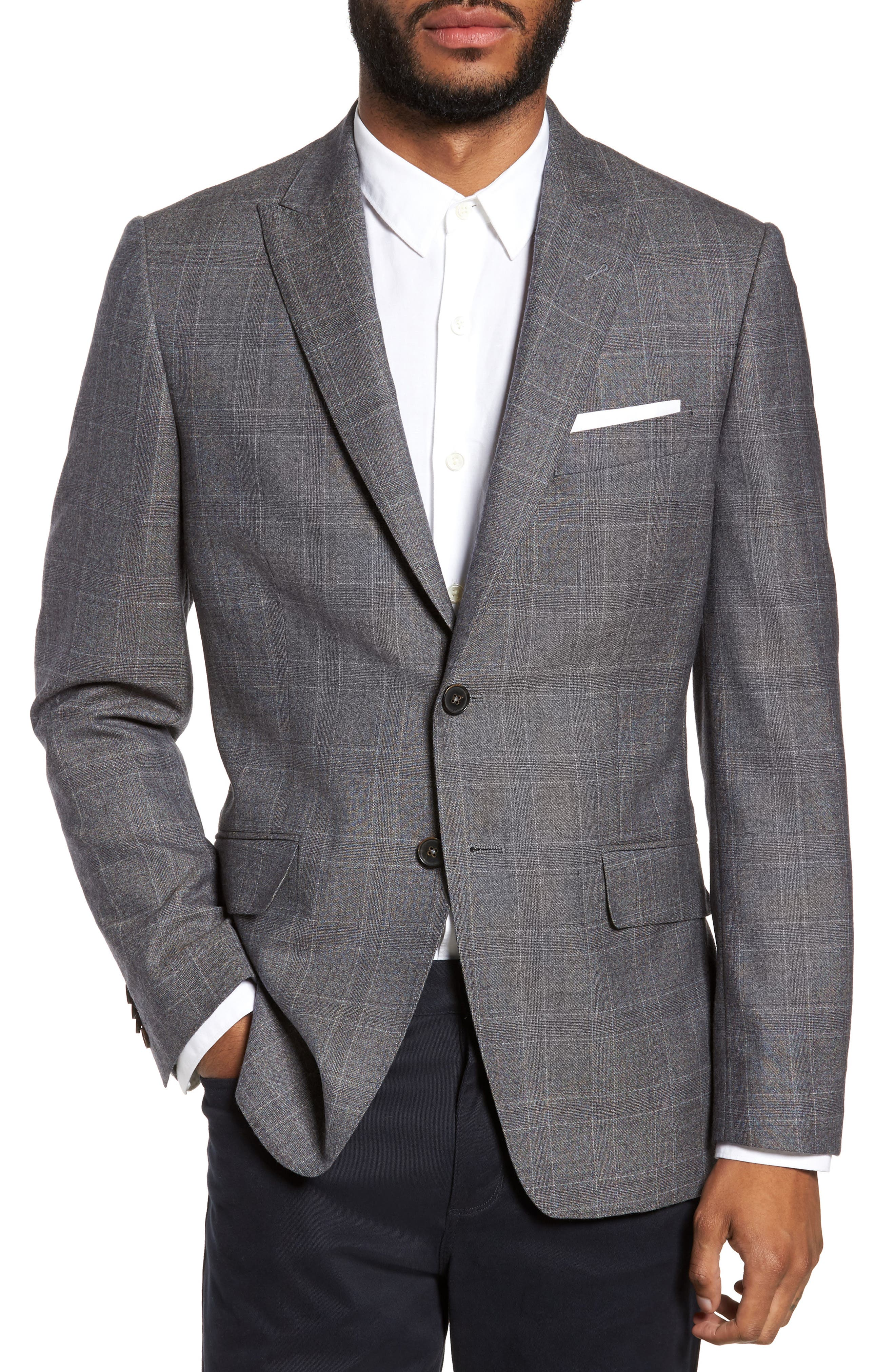 Gryning Trim Fit Plaid Wool Blend Sport Coat,                         Main,                         color, Quiet Gray