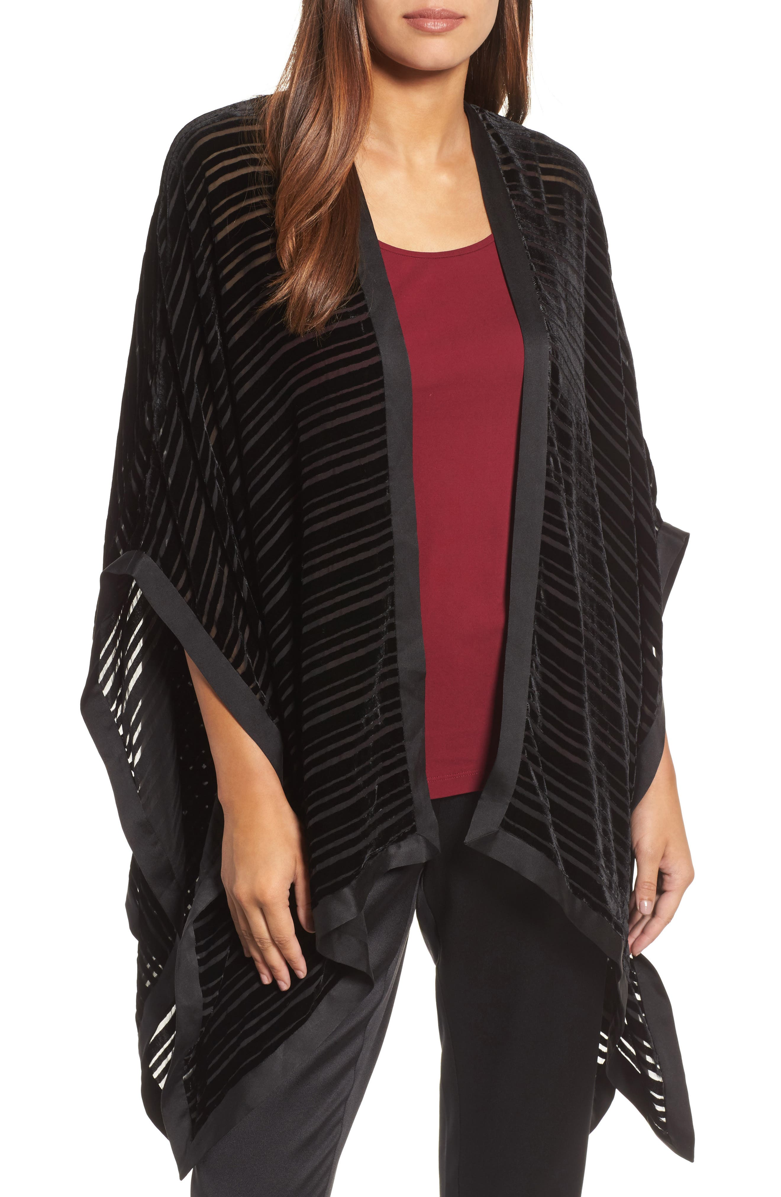 Eileen Fisher Velvet Stripe Burnout Poncho Wrap
