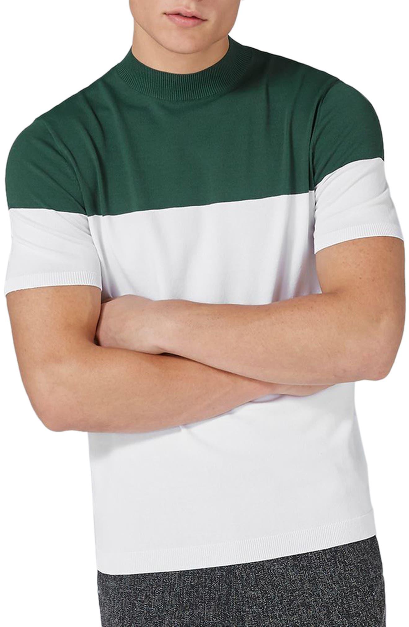 Colorblock Mock Neck Sweater,                             Main thumbnail 1, color,                             Green Multi