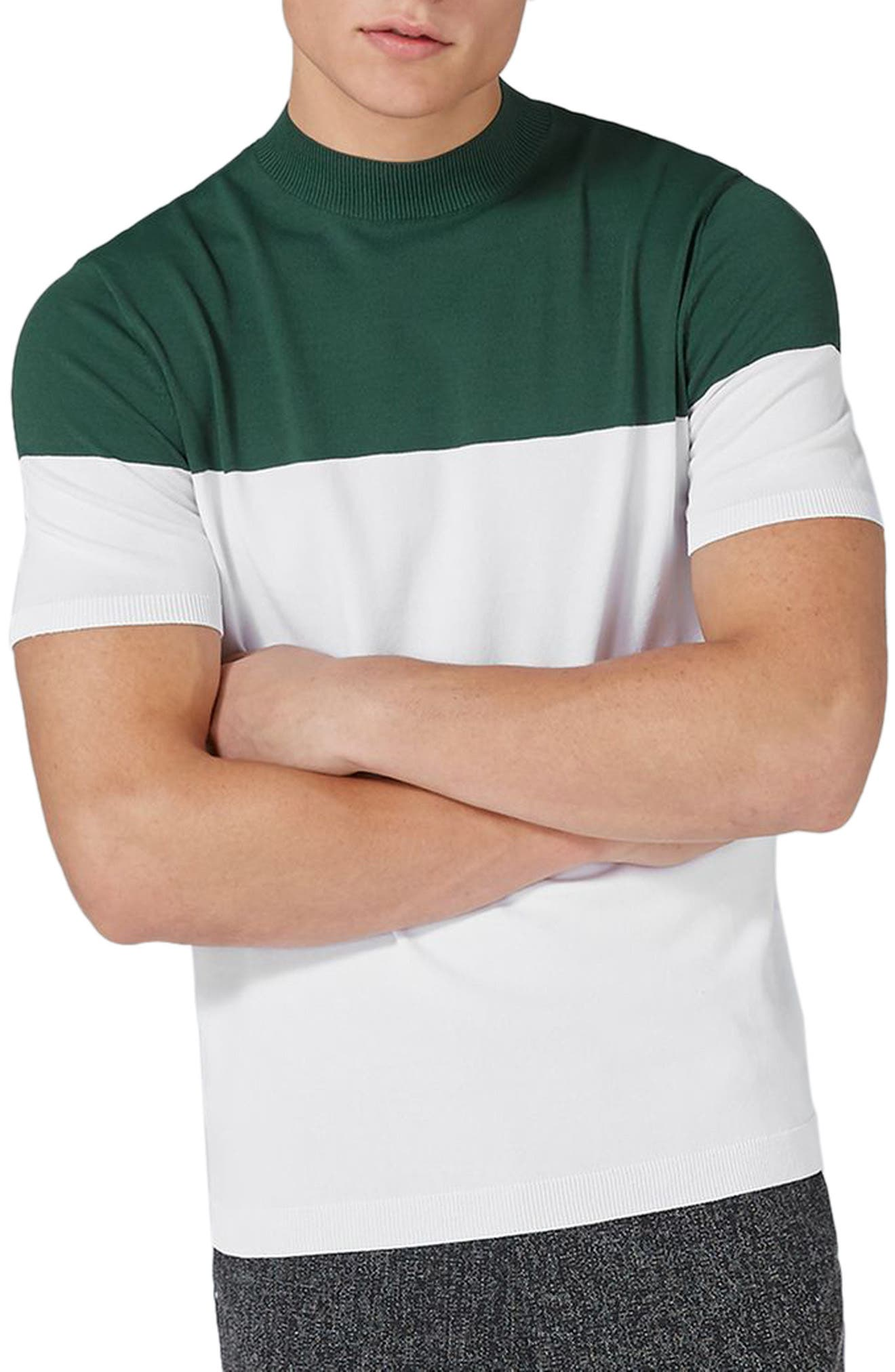 Topman Colorblock Mock Neck Sweater