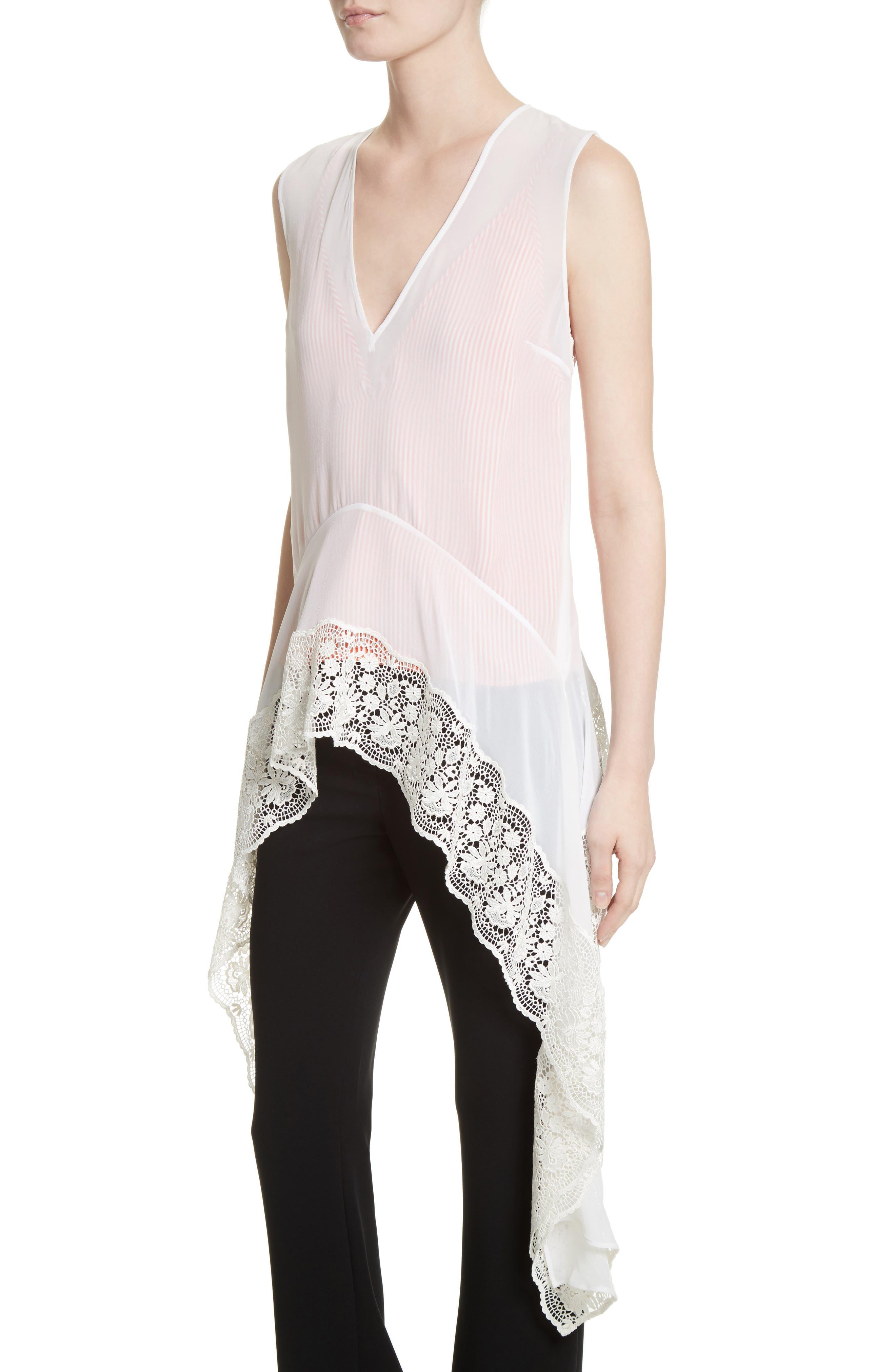 Lace Trim Silk Blouse,                             Alternate thumbnail 4, color,                             Natural White