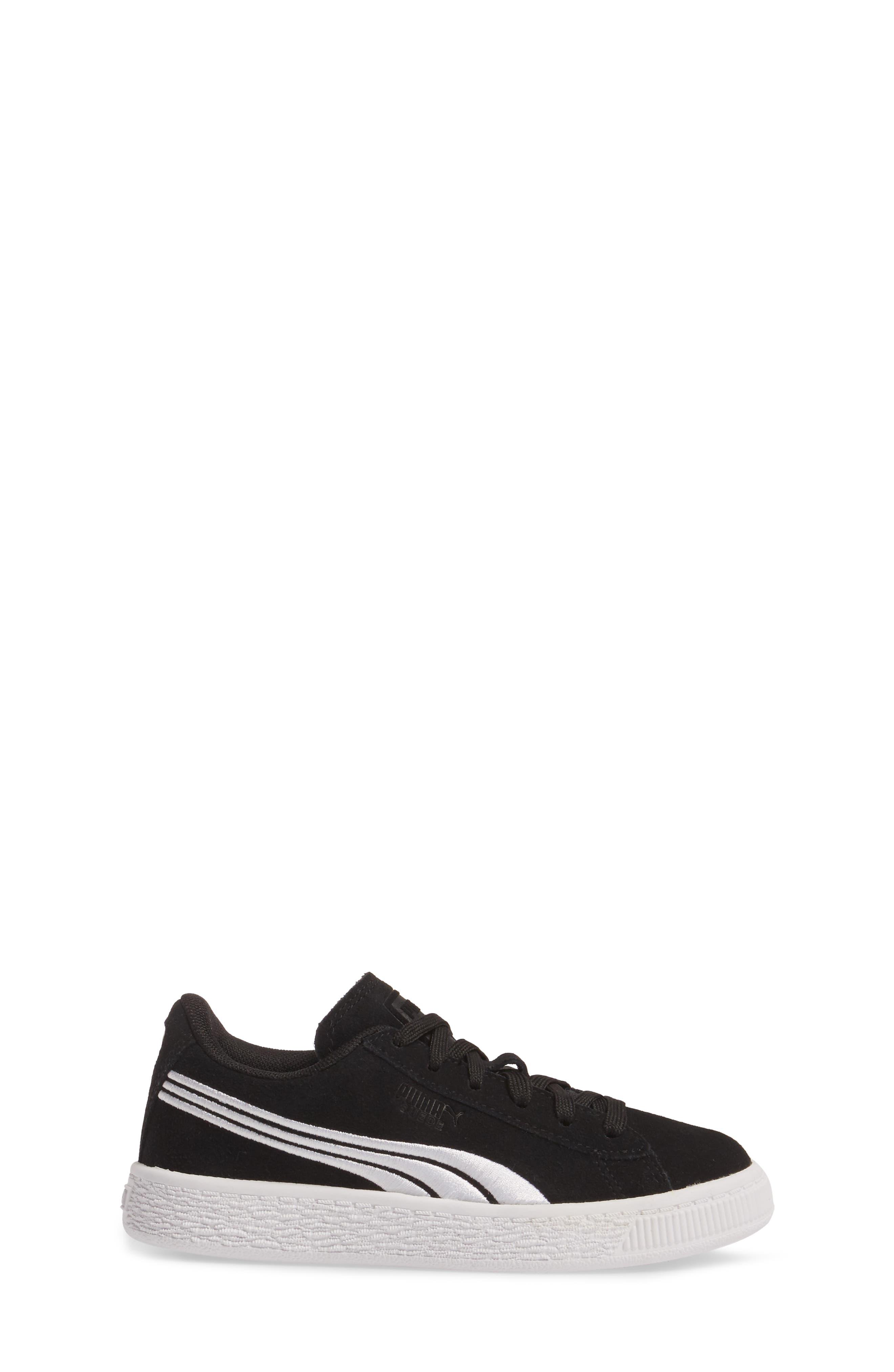 Suede Classic Badge Sneaker,                             Alternate thumbnail 3, color,                             Black