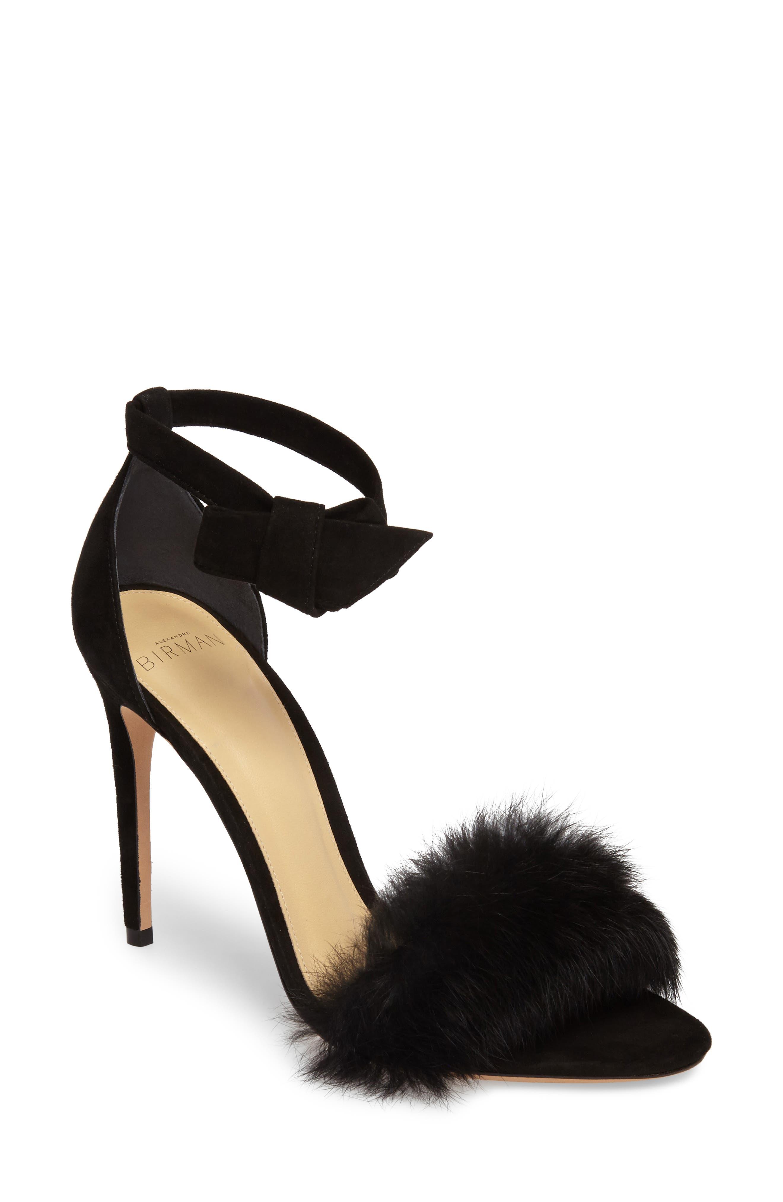 Alexandre Birman Clarita Genuine Rabbit Fur Sandal (Women)