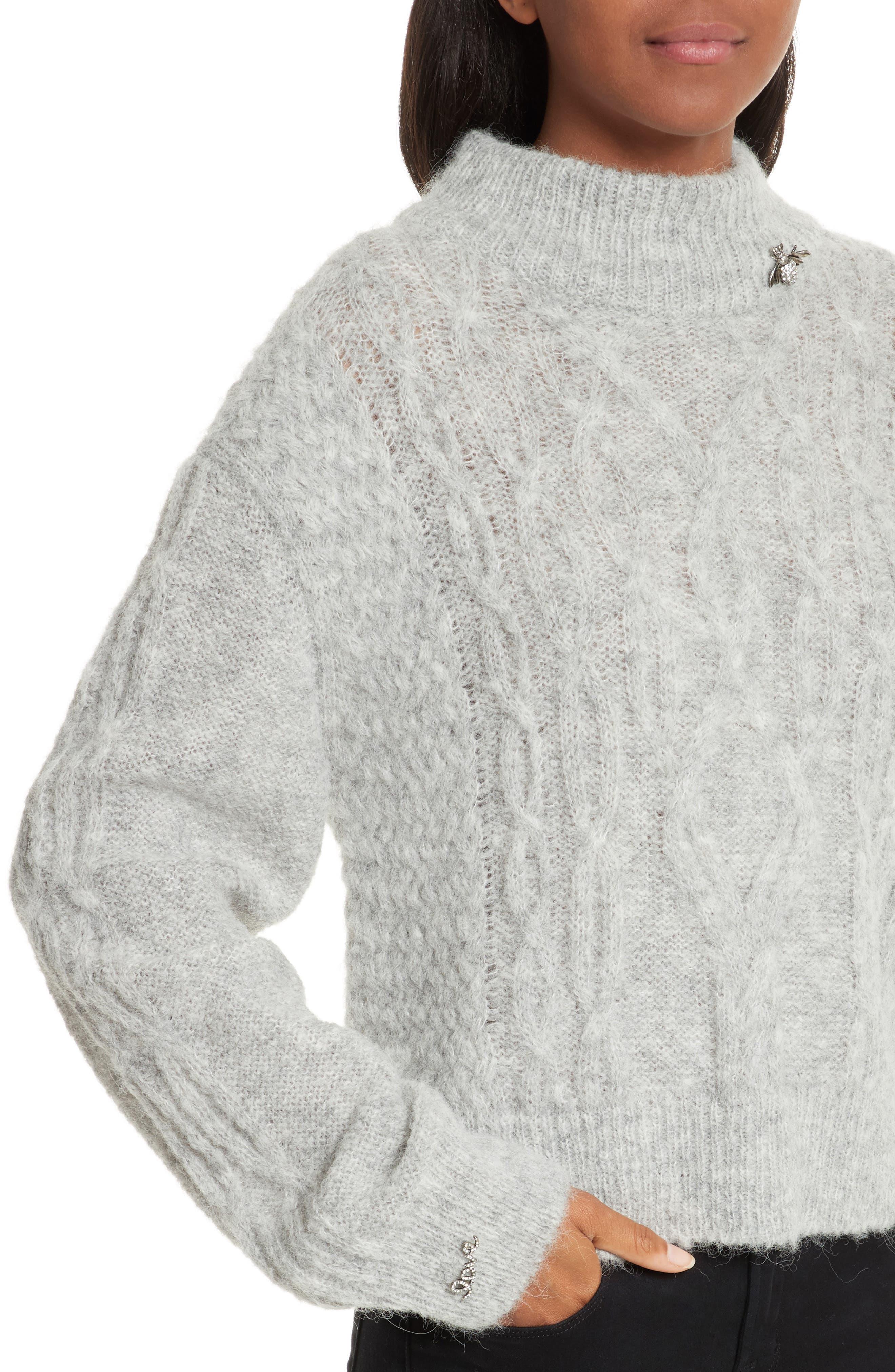 Garlan Mock Neck Sweater,                             Alternate thumbnail 4, color,                             Light Heather Grey