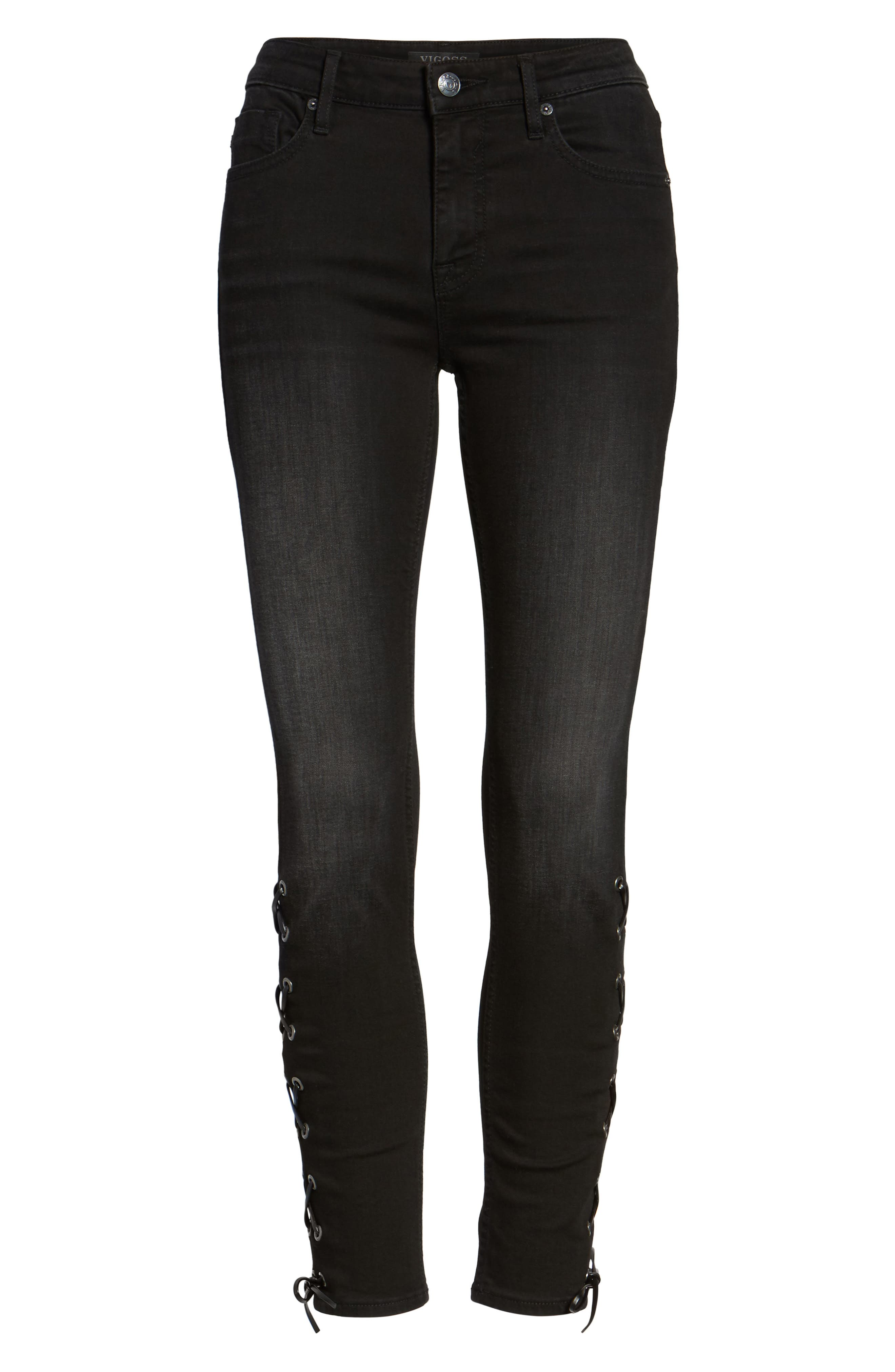 Lace-Up Distressed Skinny Jeans,                             Alternate thumbnail 6, color,                             Black