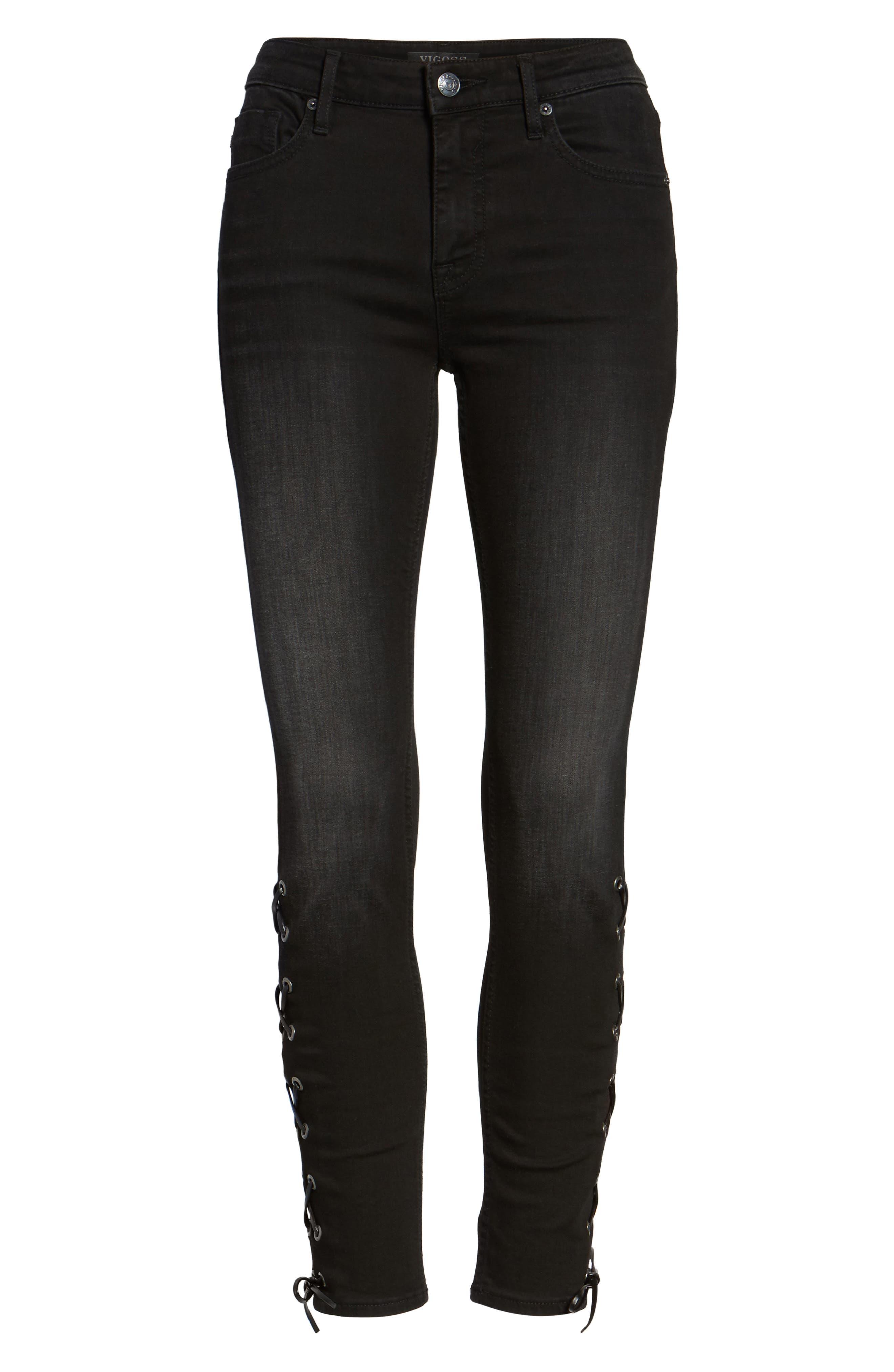 Alternate Image 6  - Vigoss Lace-Up Distressed Skinny Jeans