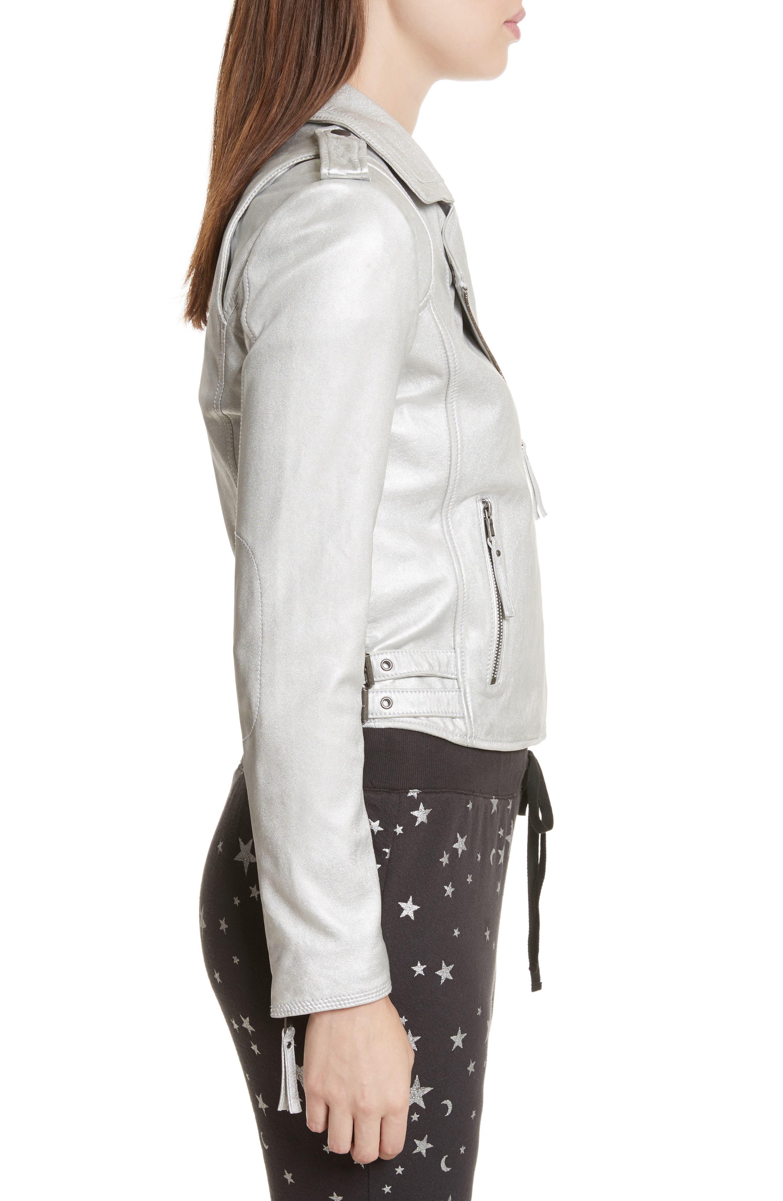 Leolani Leather Jacket,                             Alternate thumbnail 3, color,                             Silver