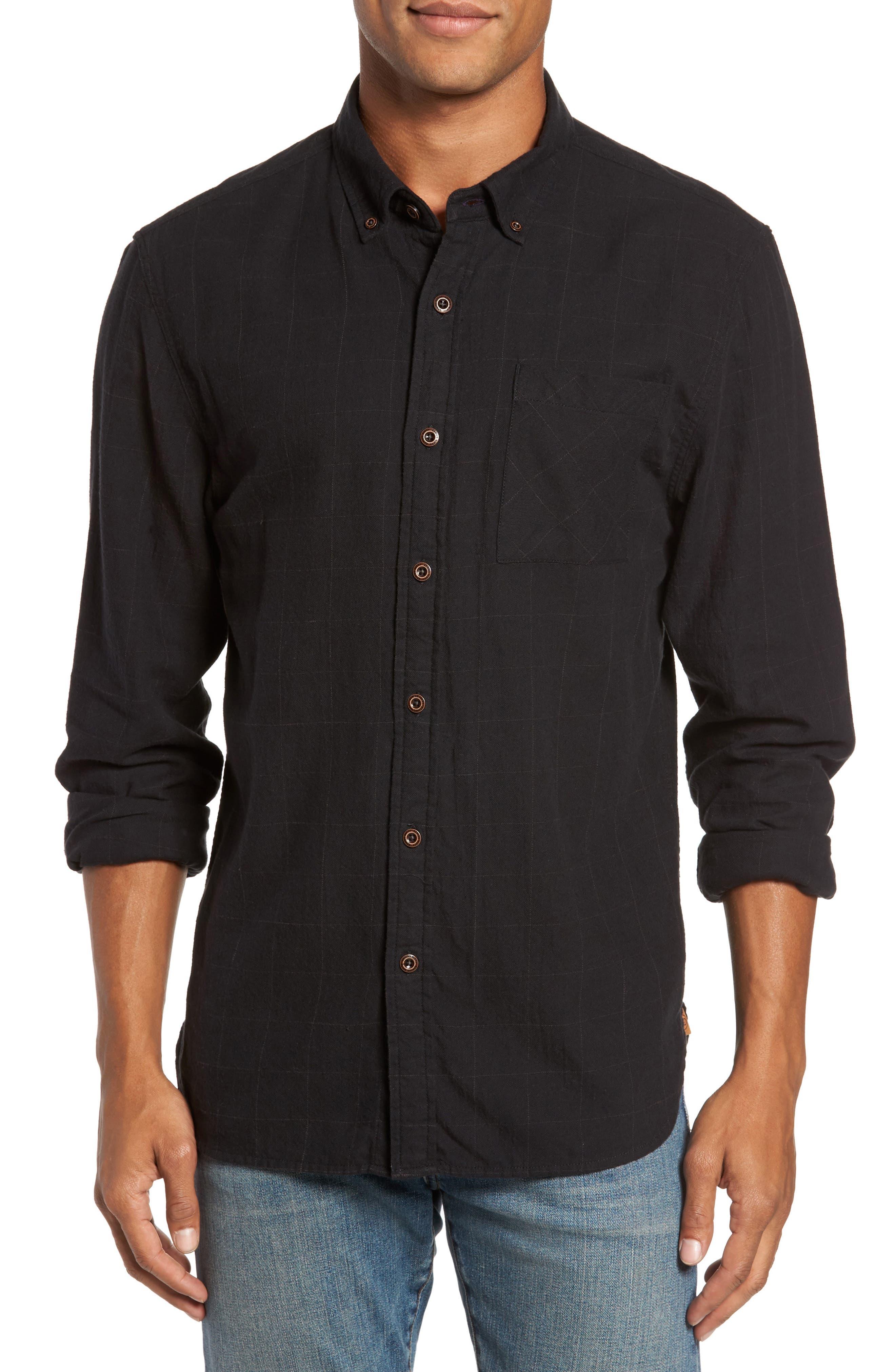 Tuman Windowpane Sport Shirt,                         Main,                         color, Black