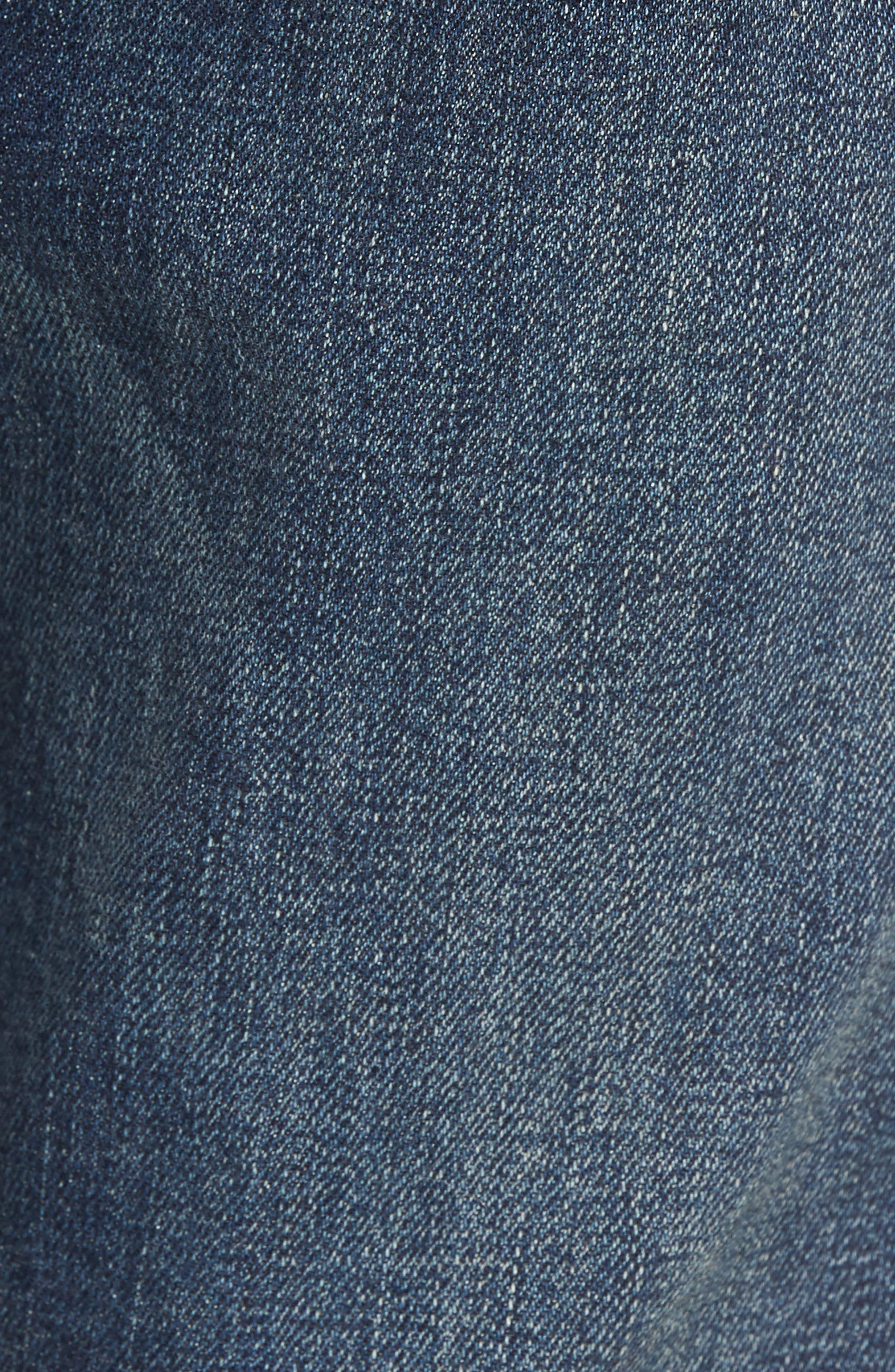 Slim Fit Destroyed Jeans,                             Alternate thumbnail 5, color,                             Blue Medium Indigo