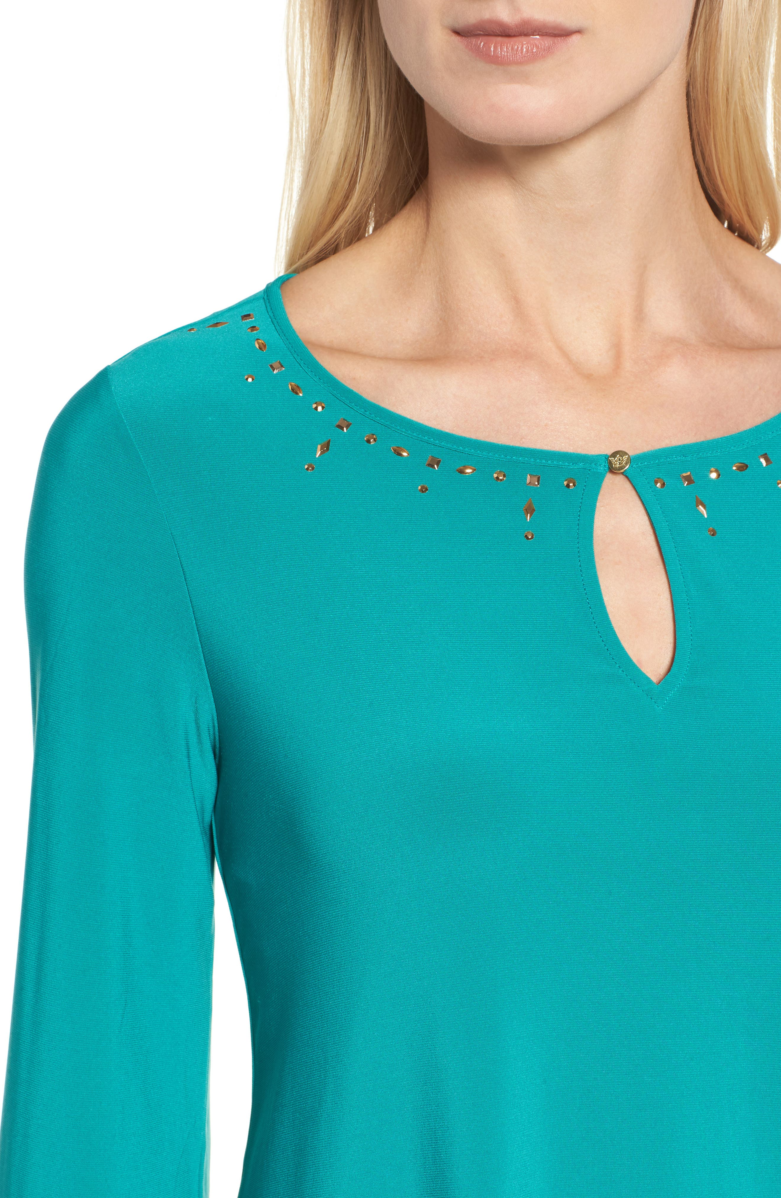 Bell Sleeve Keyhole Top,                             Alternate thumbnail 4, color,                             Radiant Teal