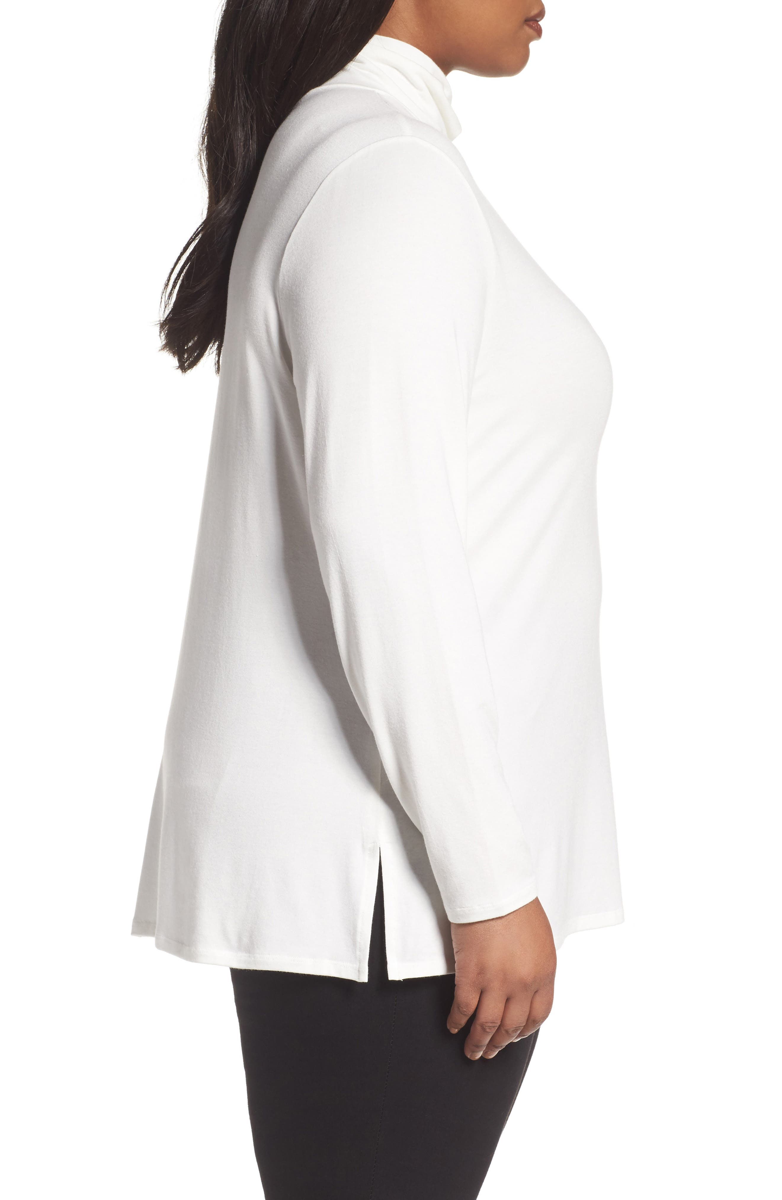 Stretch Modal Turtleneck,                             Alternate thumbnail 3, color,                             Ivory Cloud