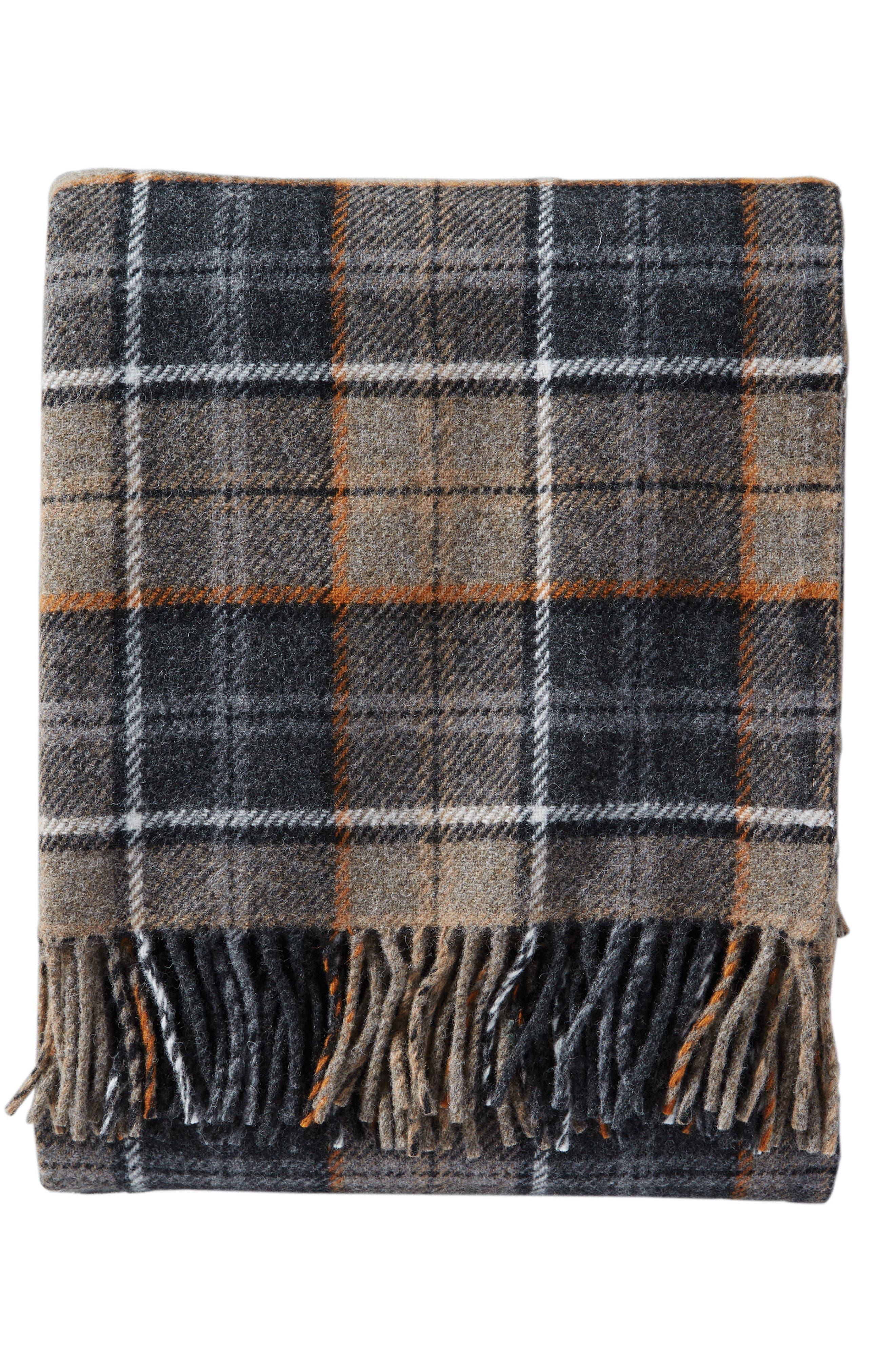 Plaid Wool Throw,                         Main,                         color, Smoke