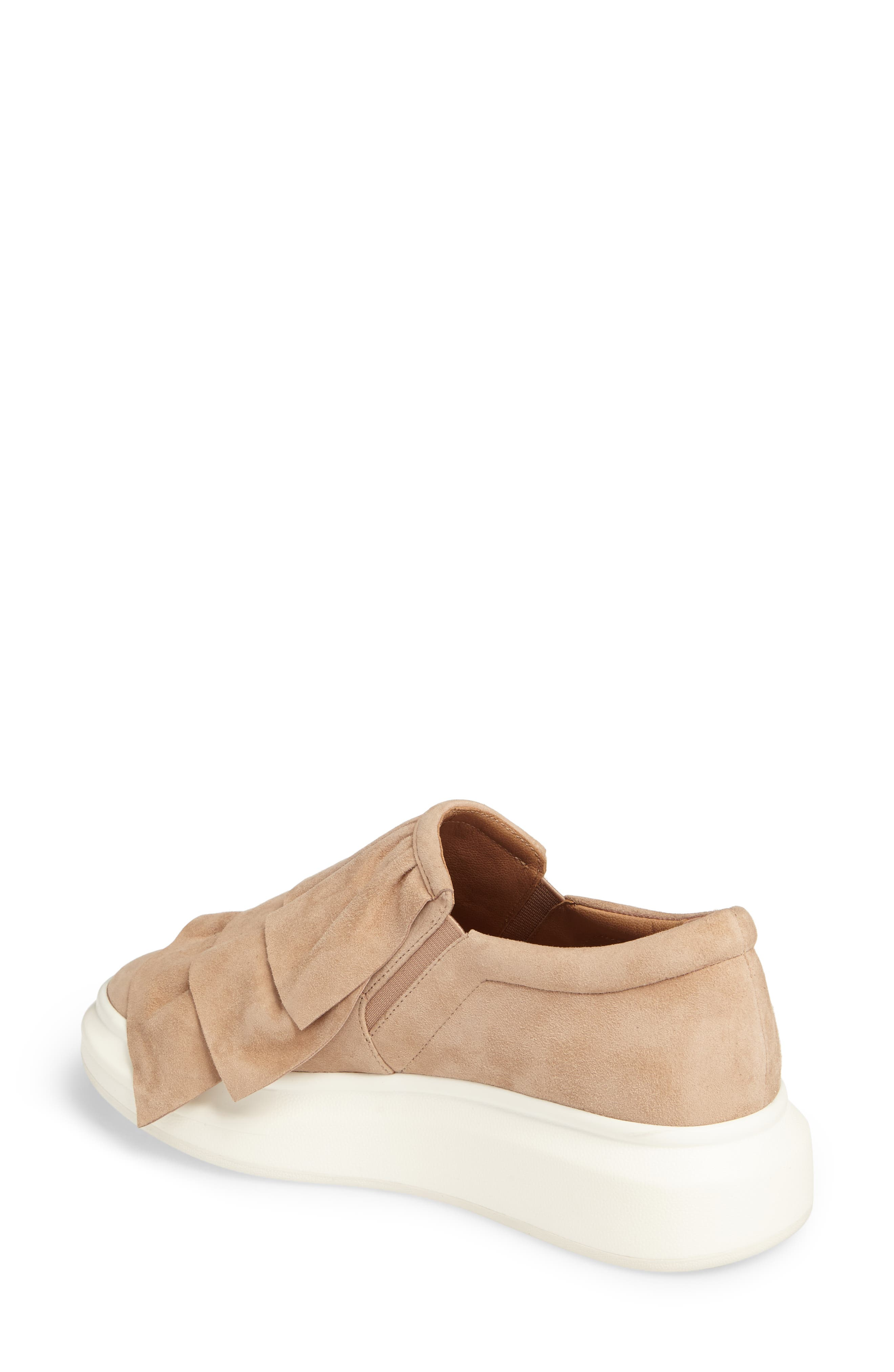 Lolo Ruffle Slip-On,                             Alternate thumbnail 2, color,                             Dusty Rose Suede