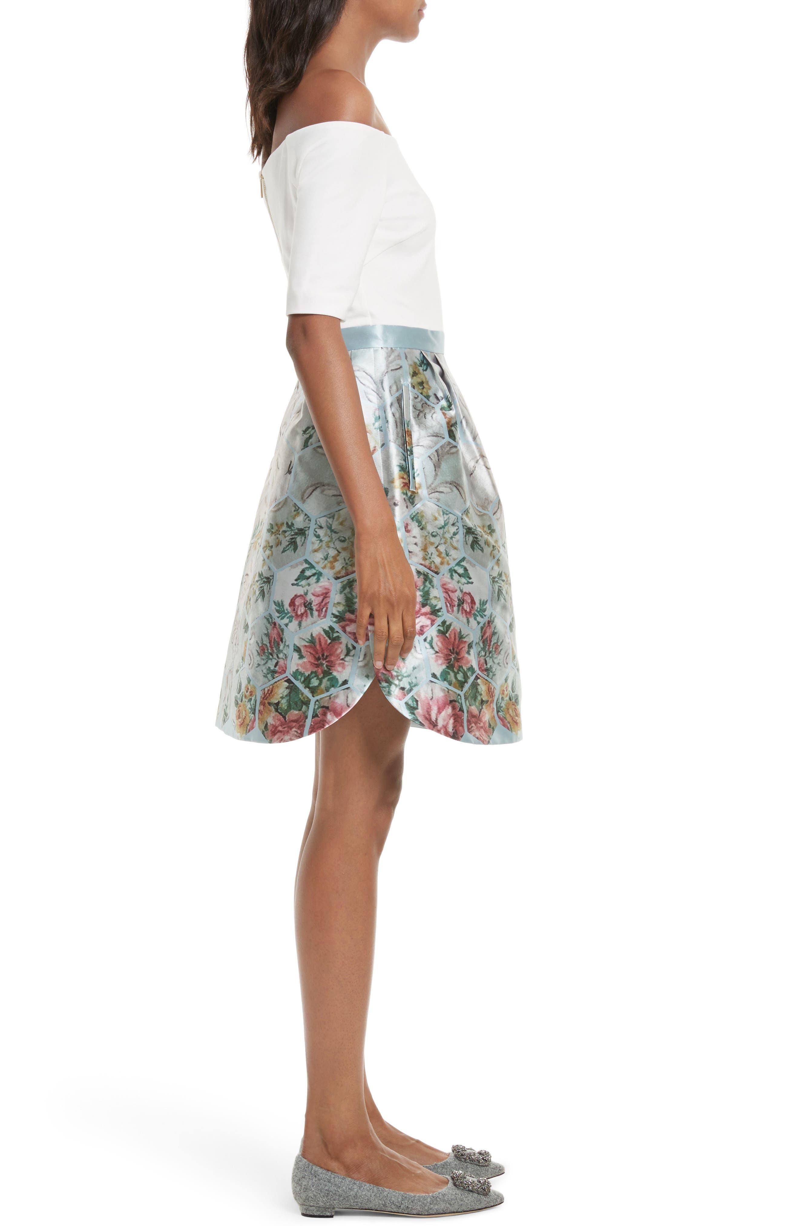 Dewrose Patchwork A-line Dress,                             Alternate thumbnail 3, color,                             Pale Blue