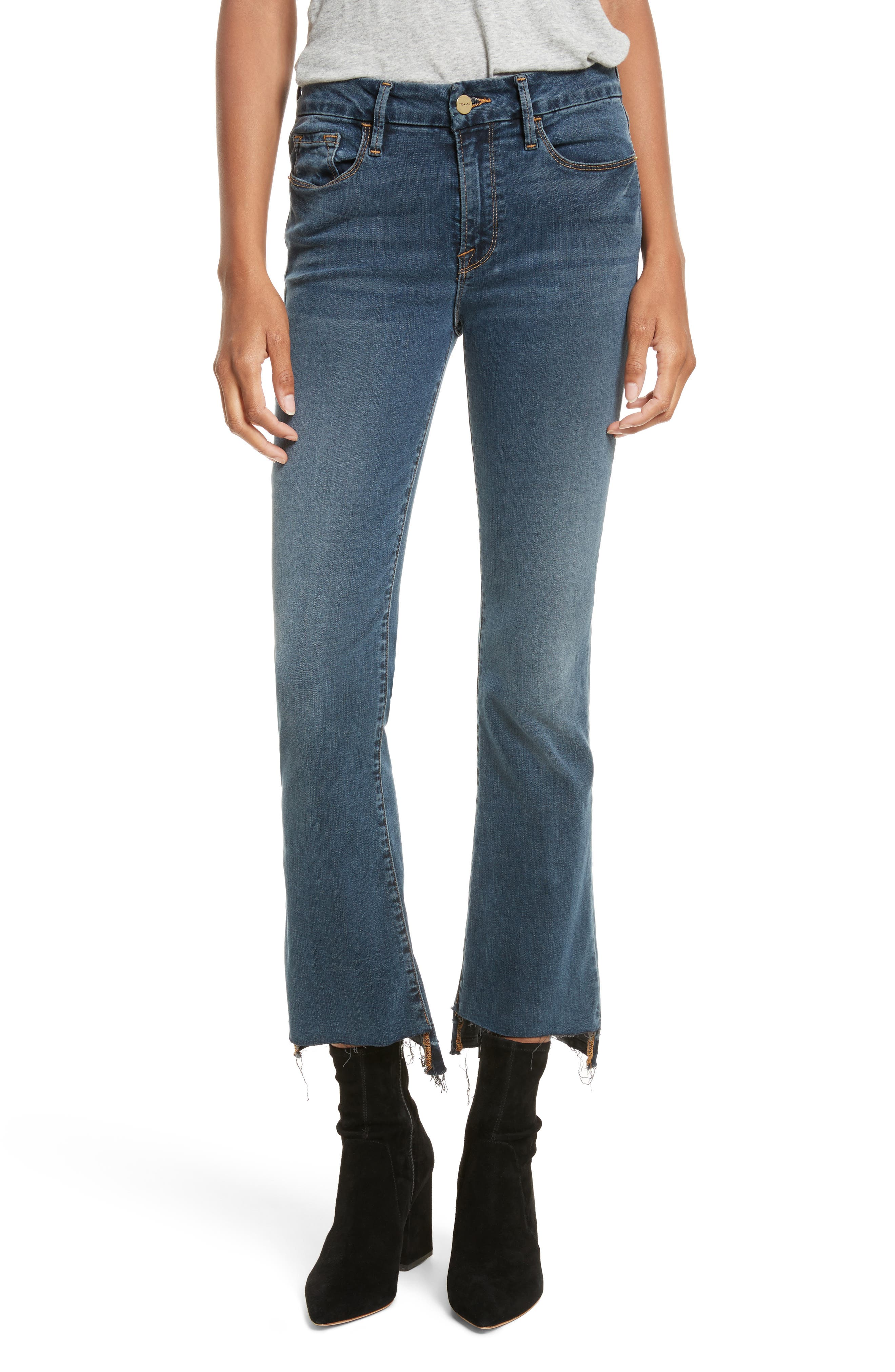 Le Crop Mini Boot Stagger Hem Jeans,                             Main thumbnail 1, color,                             Fenwick