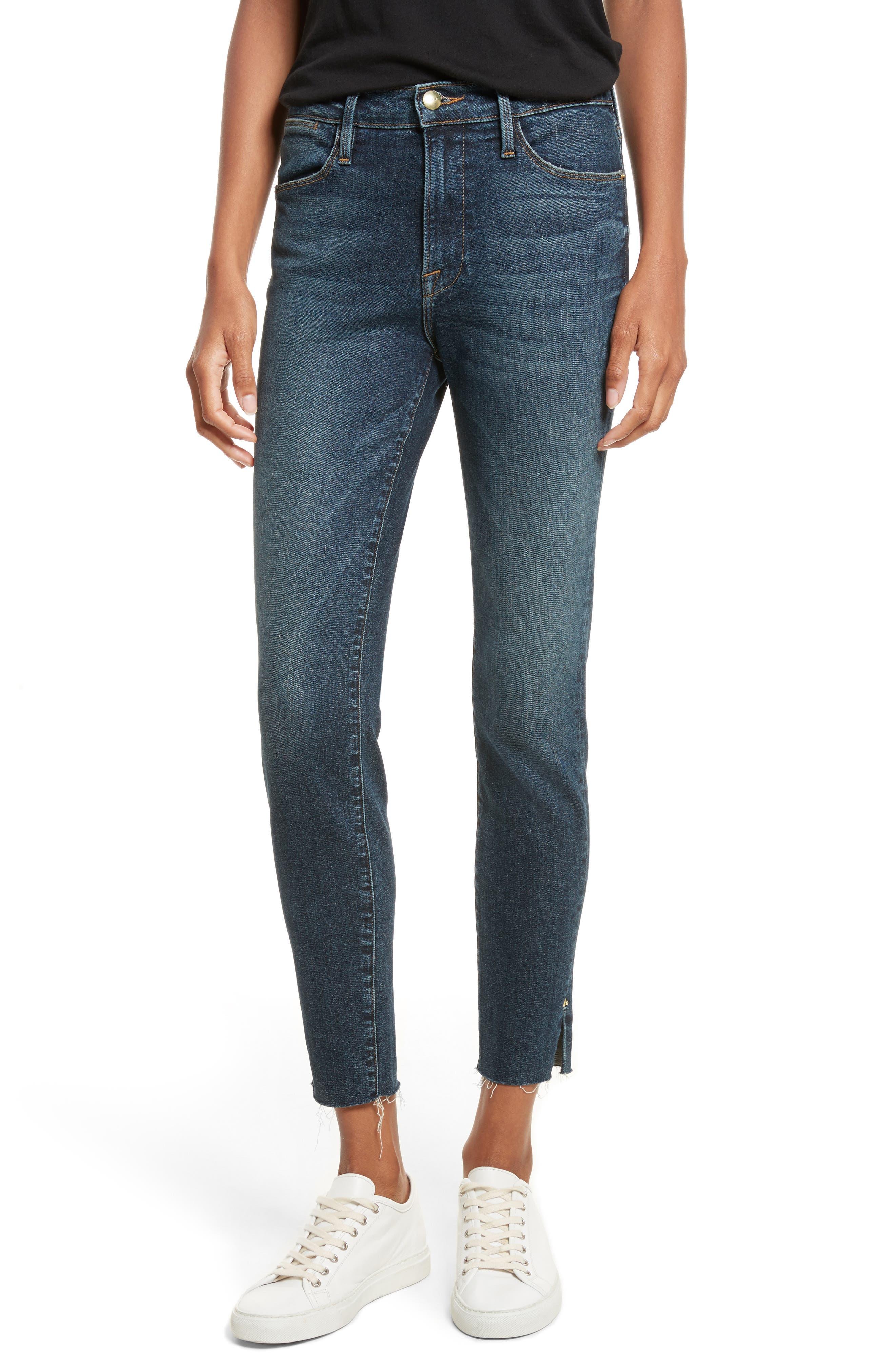 Le High Slit Ankle Skinny Jeans,                             Main thumbnail 1, color,                             Pelton