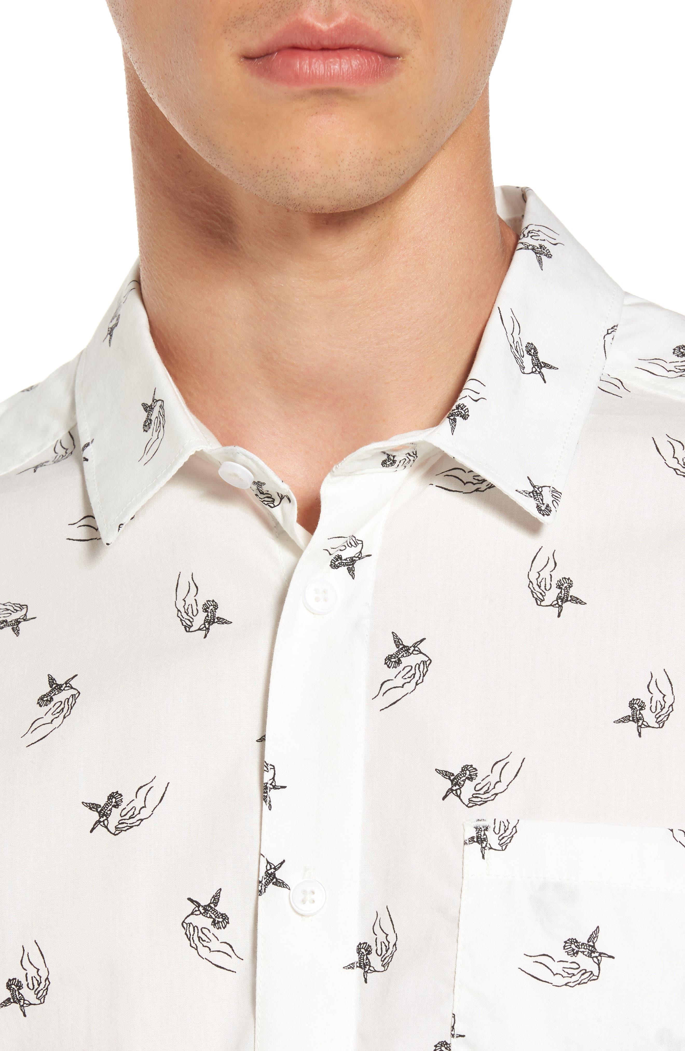 x Kevin Long Hummingbird Woven Shirt,                             Alternate thumbnail 4, color,                             Antique White