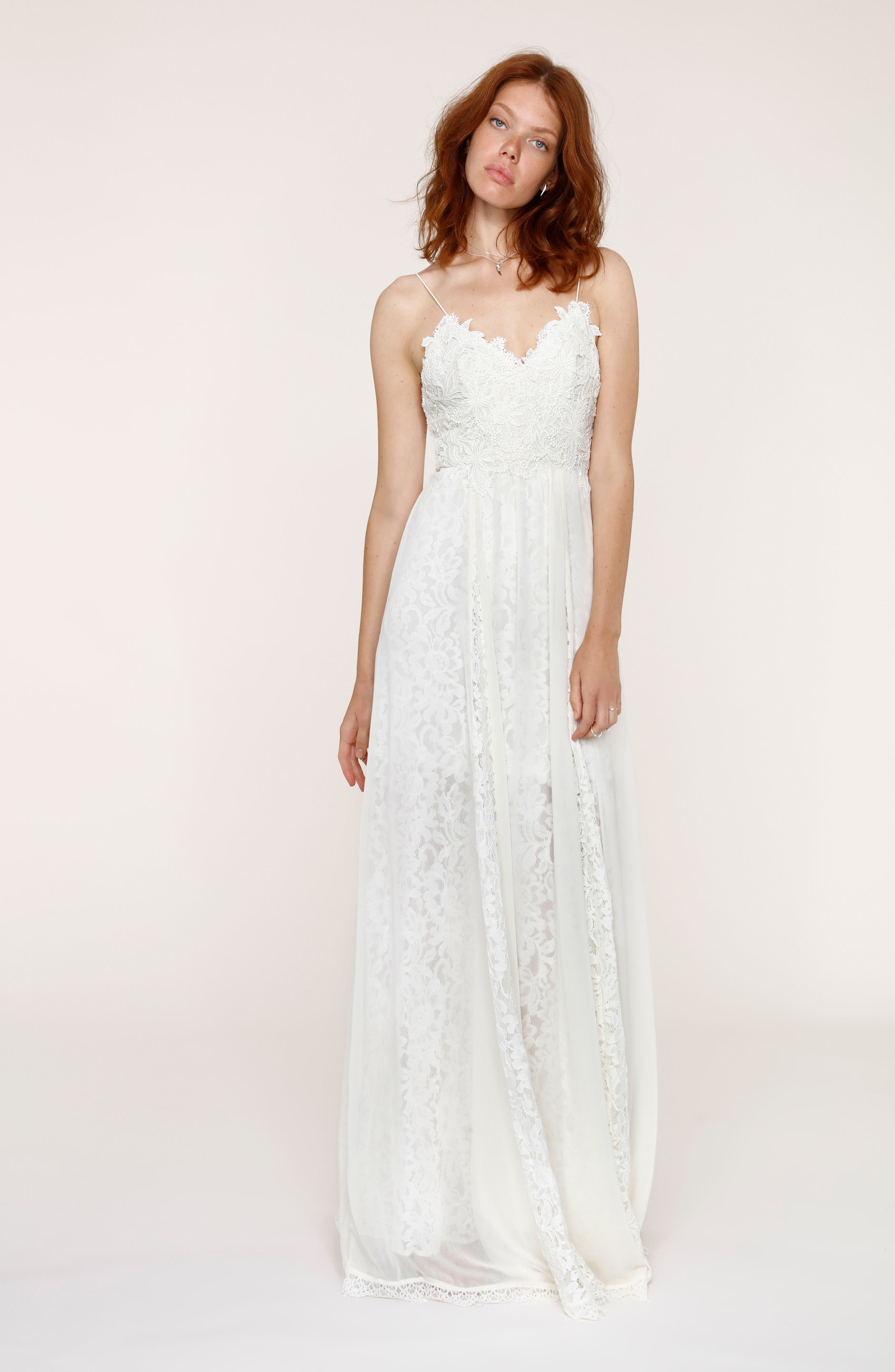 Alternate Image 1 Selected - Heartloom Sandra Lace & Chiffon Spaghetti Strap Gown