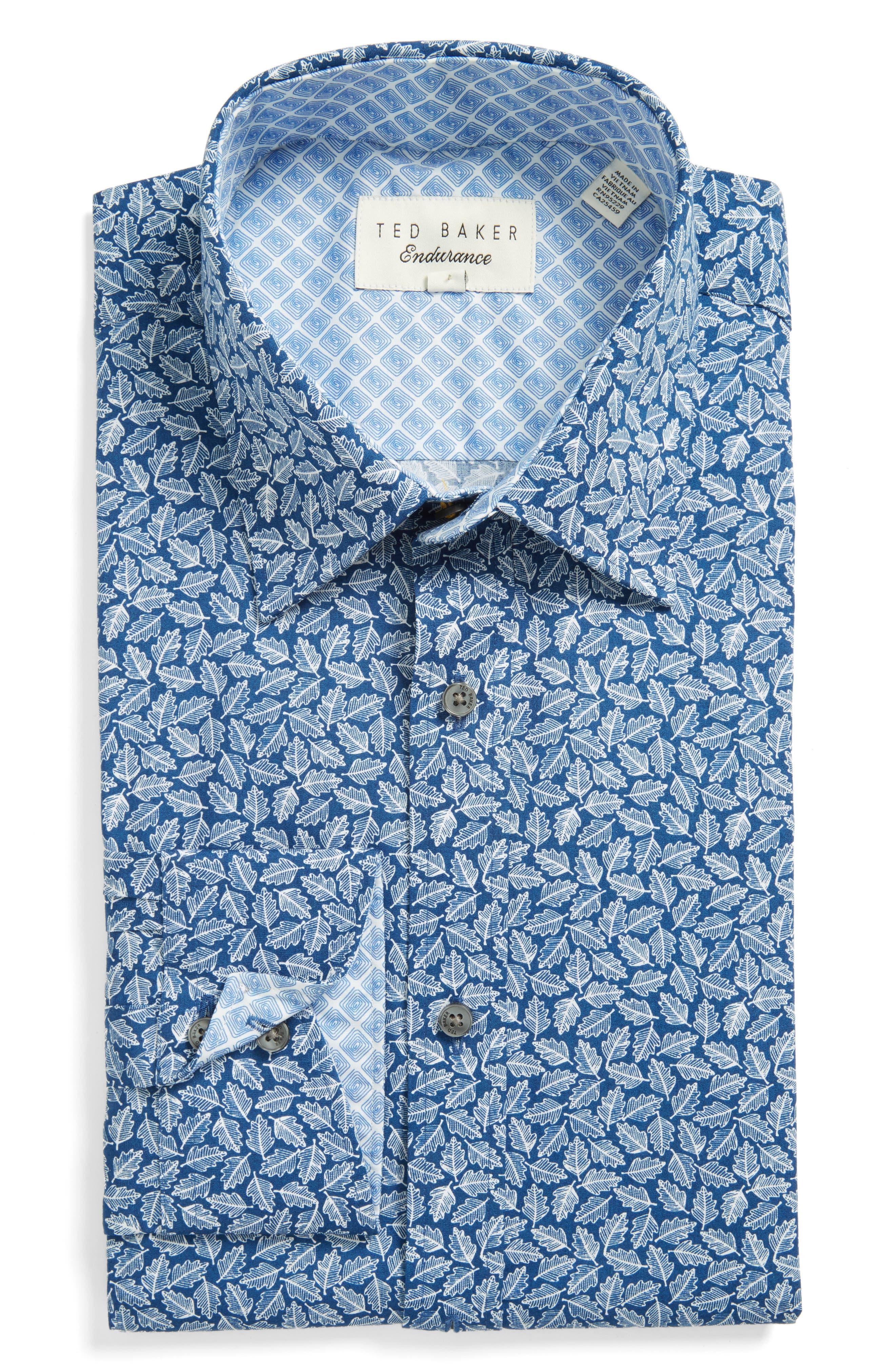 Main Image - Ted Baker London Endurance Trim Fit Print Dress Shirt