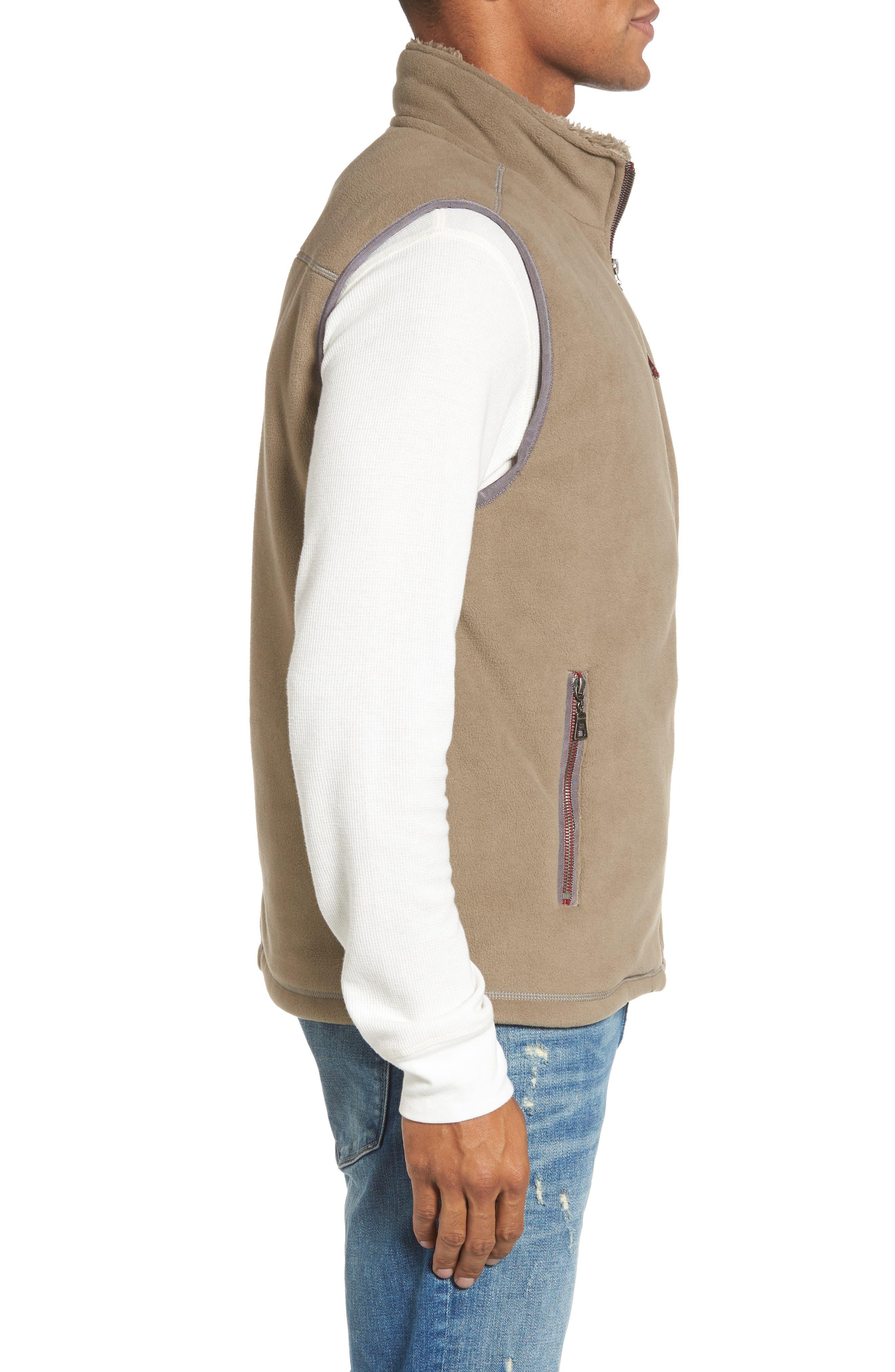 Fleece Vest with Faux Fur Lining,                             Alternate thumbnail 3, color,                             Gravel