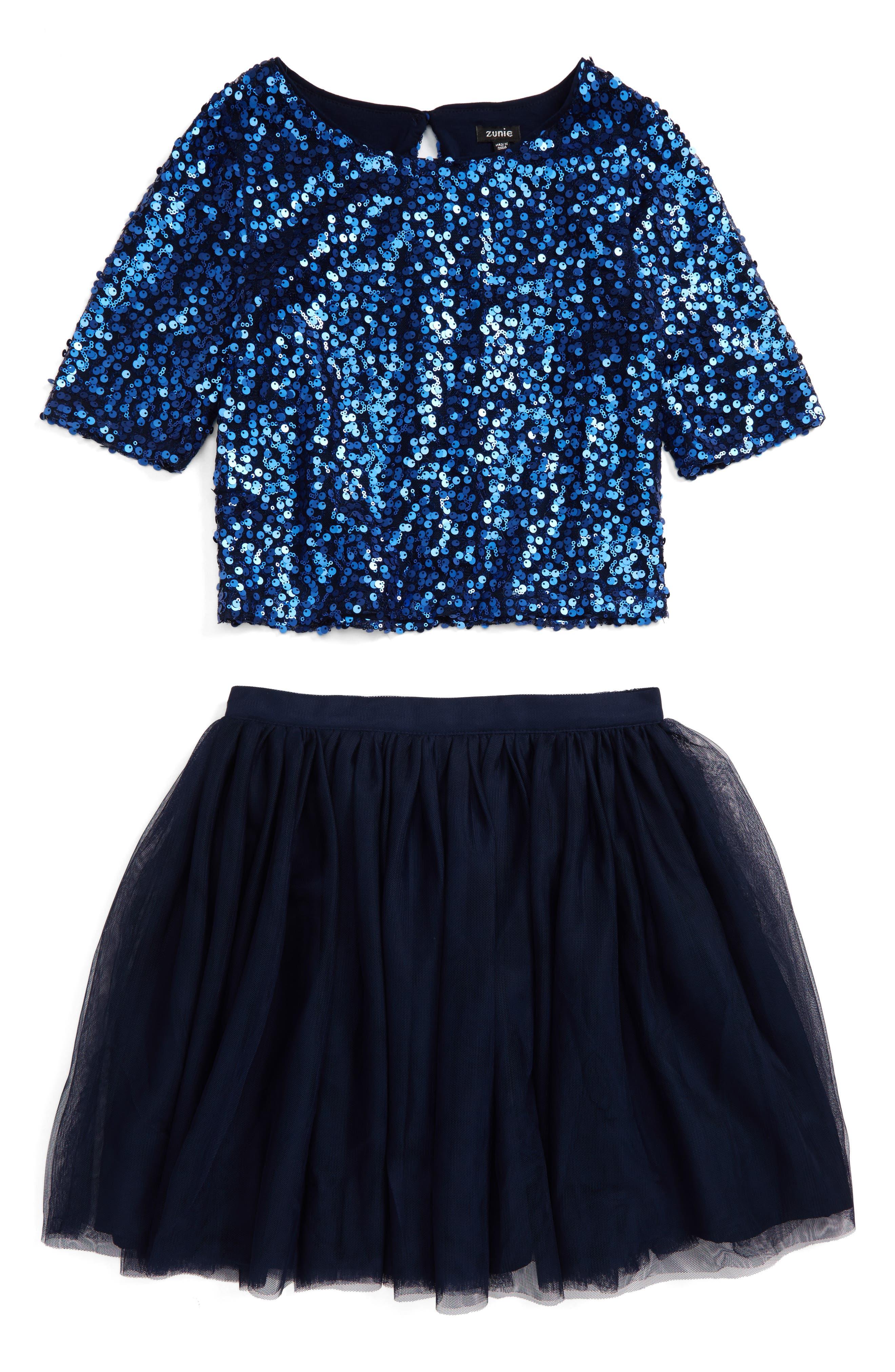 Main Image - Zunie Sequin Top & Tulle Skirt Set (Big Girls)