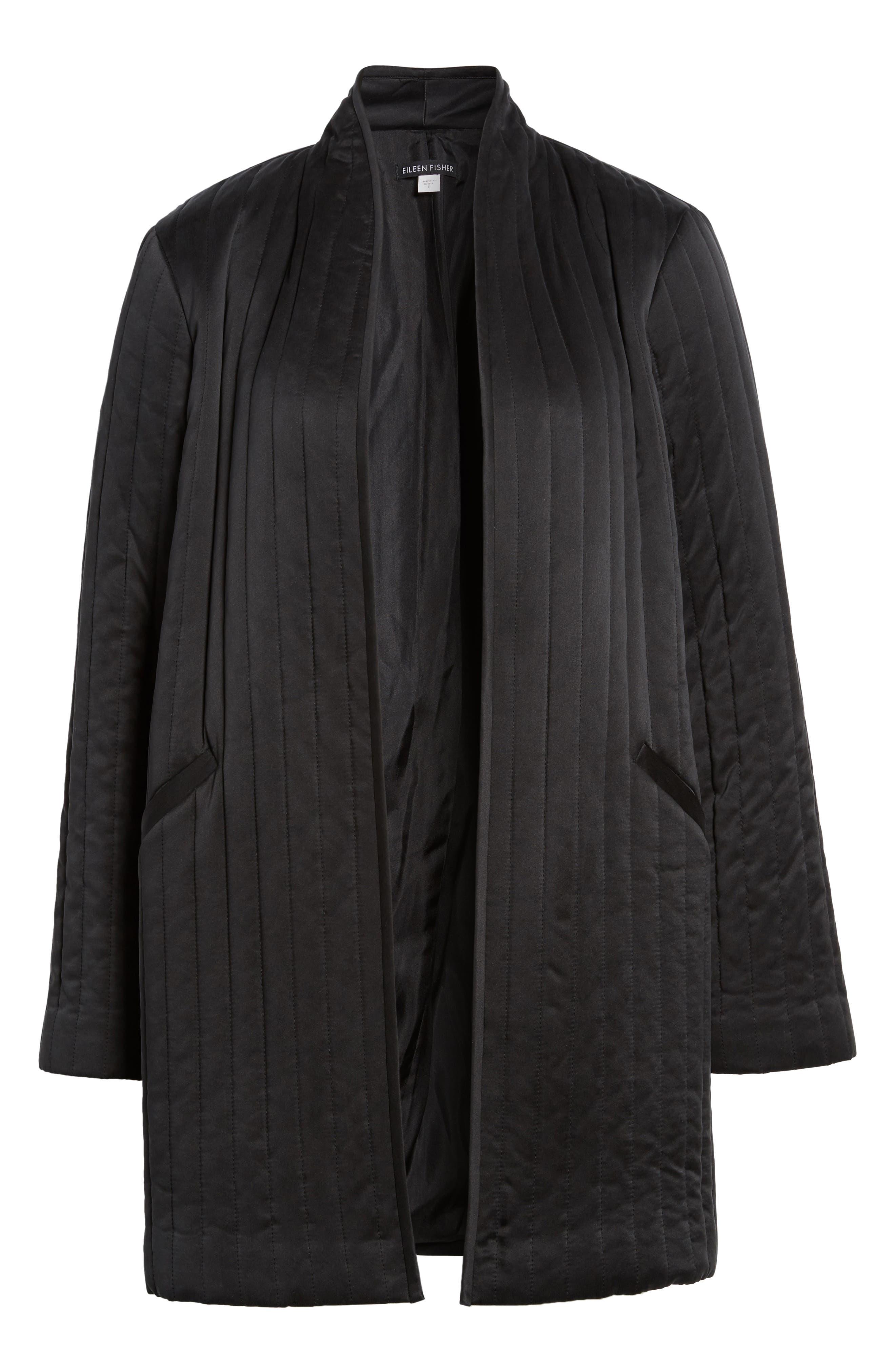 High Collar Silk Jacket,                             Alternate thumbnail 6, color,                             Black