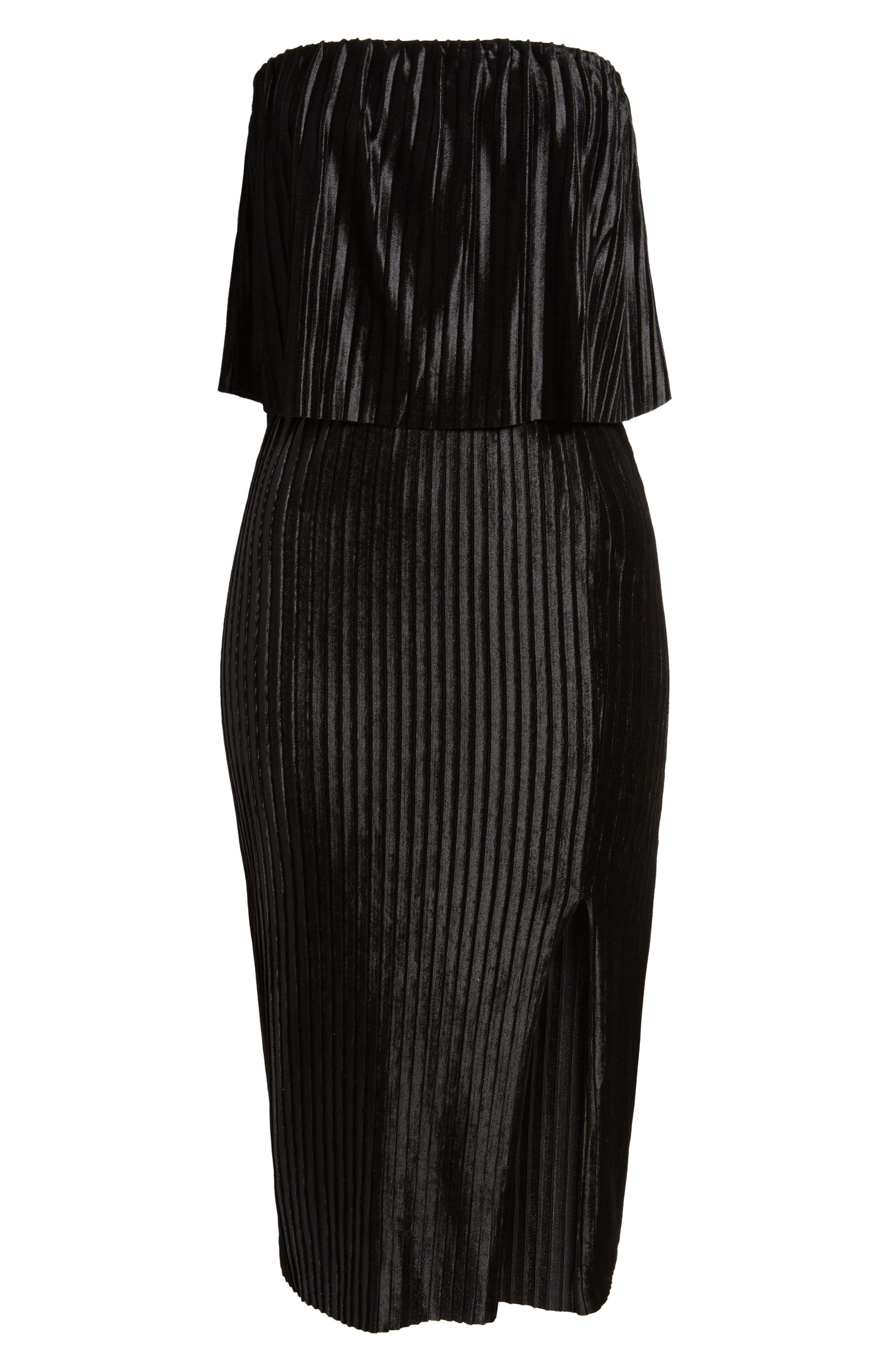Pleated Popover Midi Dress,                             Alternate thumbnail 6, color,                             Black