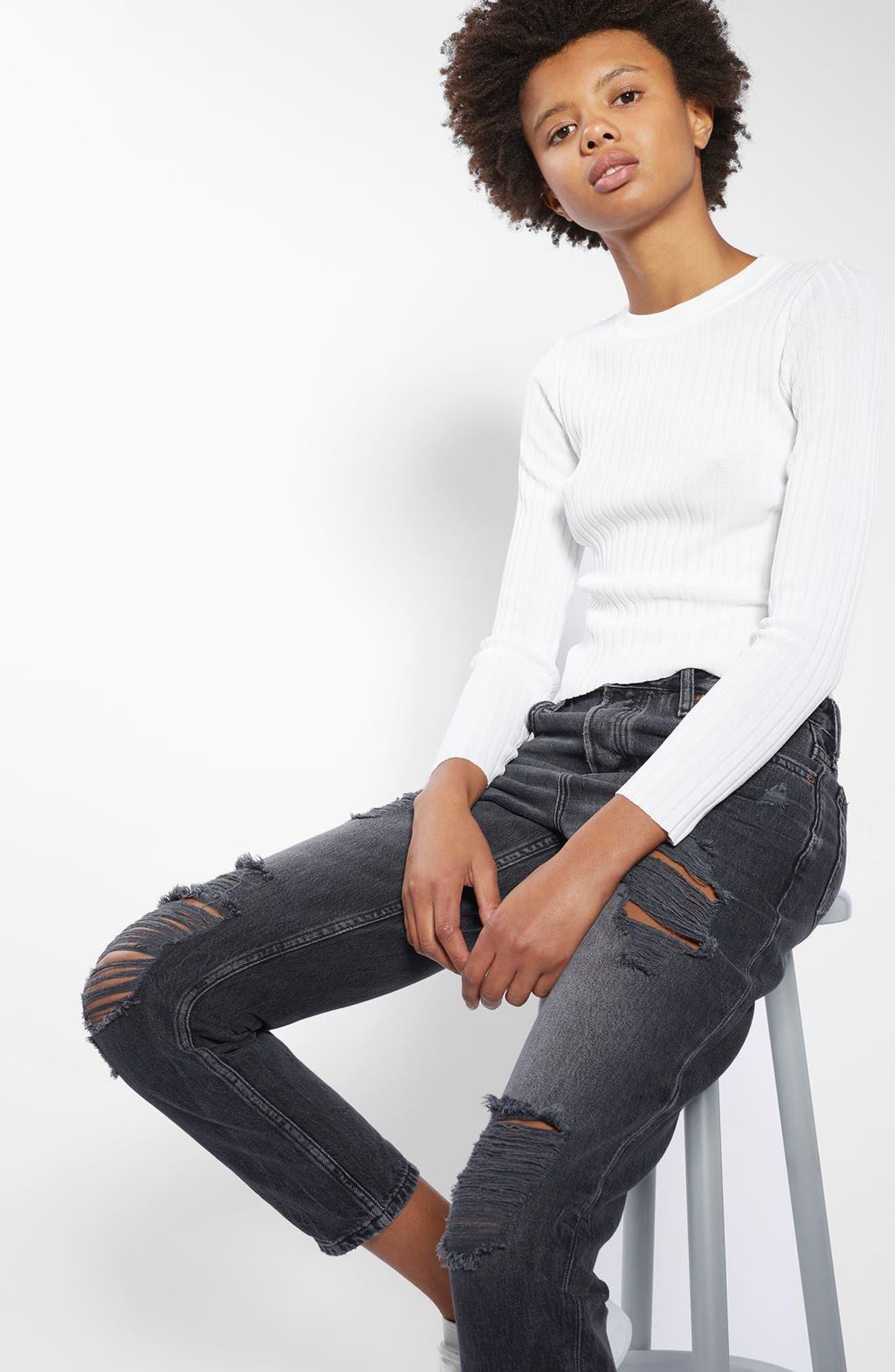 Hayden Super Rip Boyfriend Jeans,                         Main,                         color, Washed Black