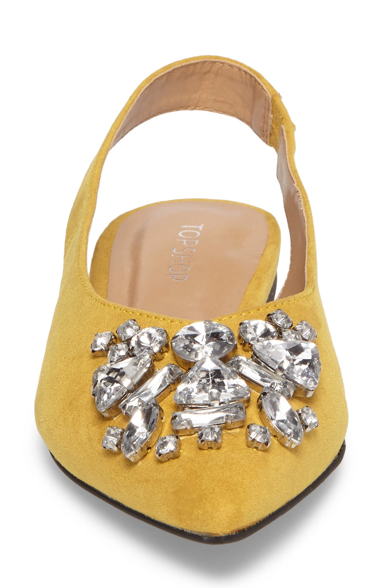 Ava Embellished Slingback Flat,                             Alternate thumbnail 4, color,                             Yellow