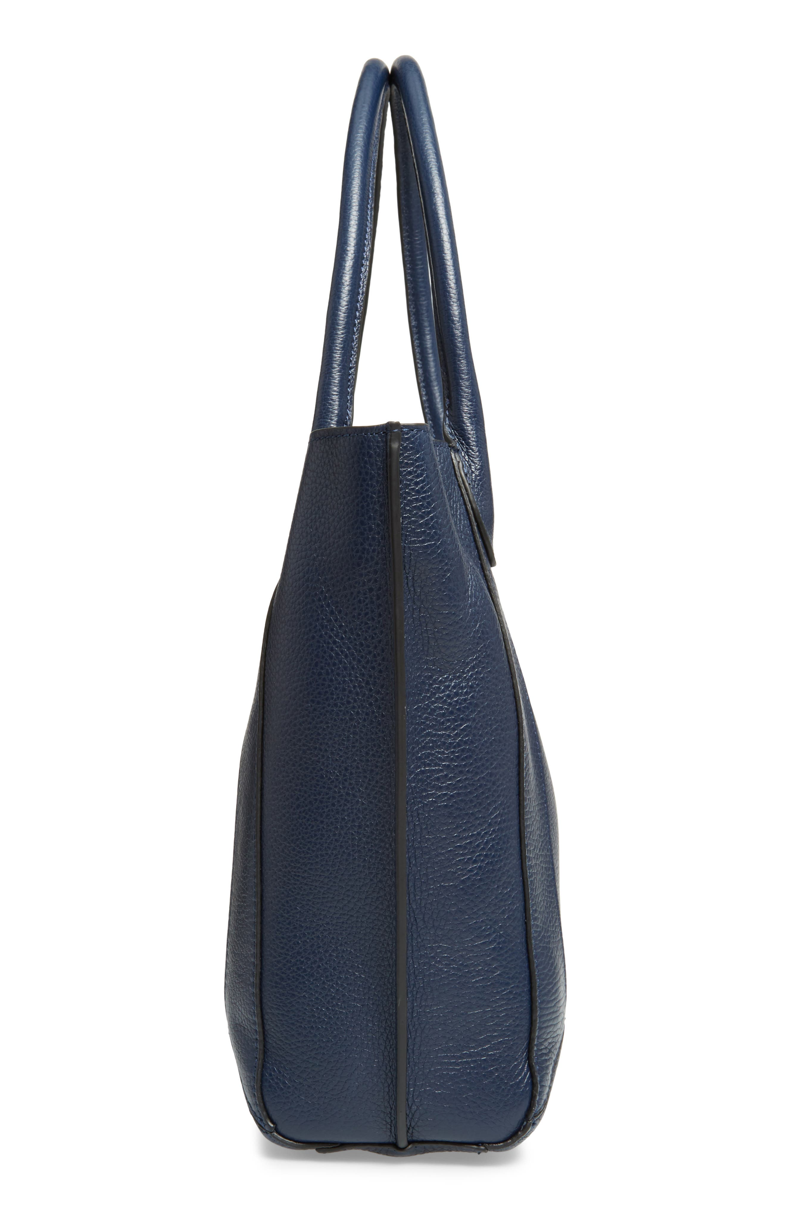 Perry Leather Tote,                             Alternate thumbnail 5, color,                             Sapphire