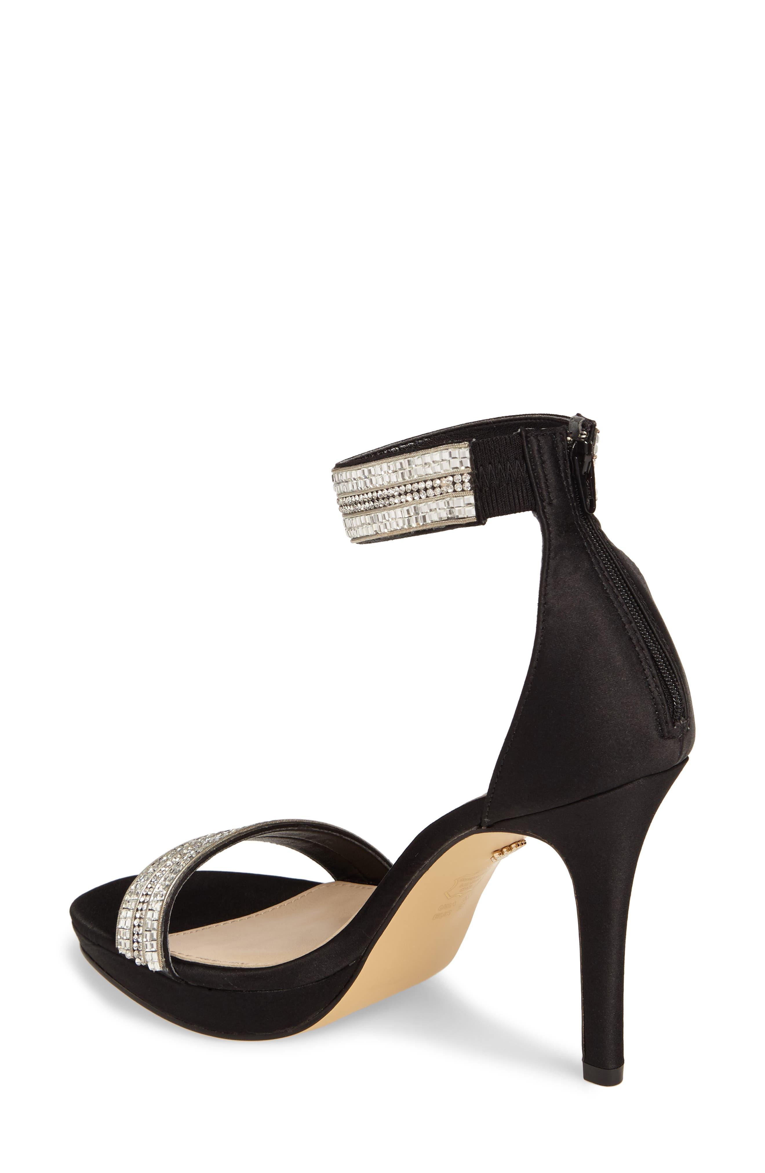 Aubrie Ankle Strap Sandal,                             Alternate thumbnail 2, color,                             Black Satin