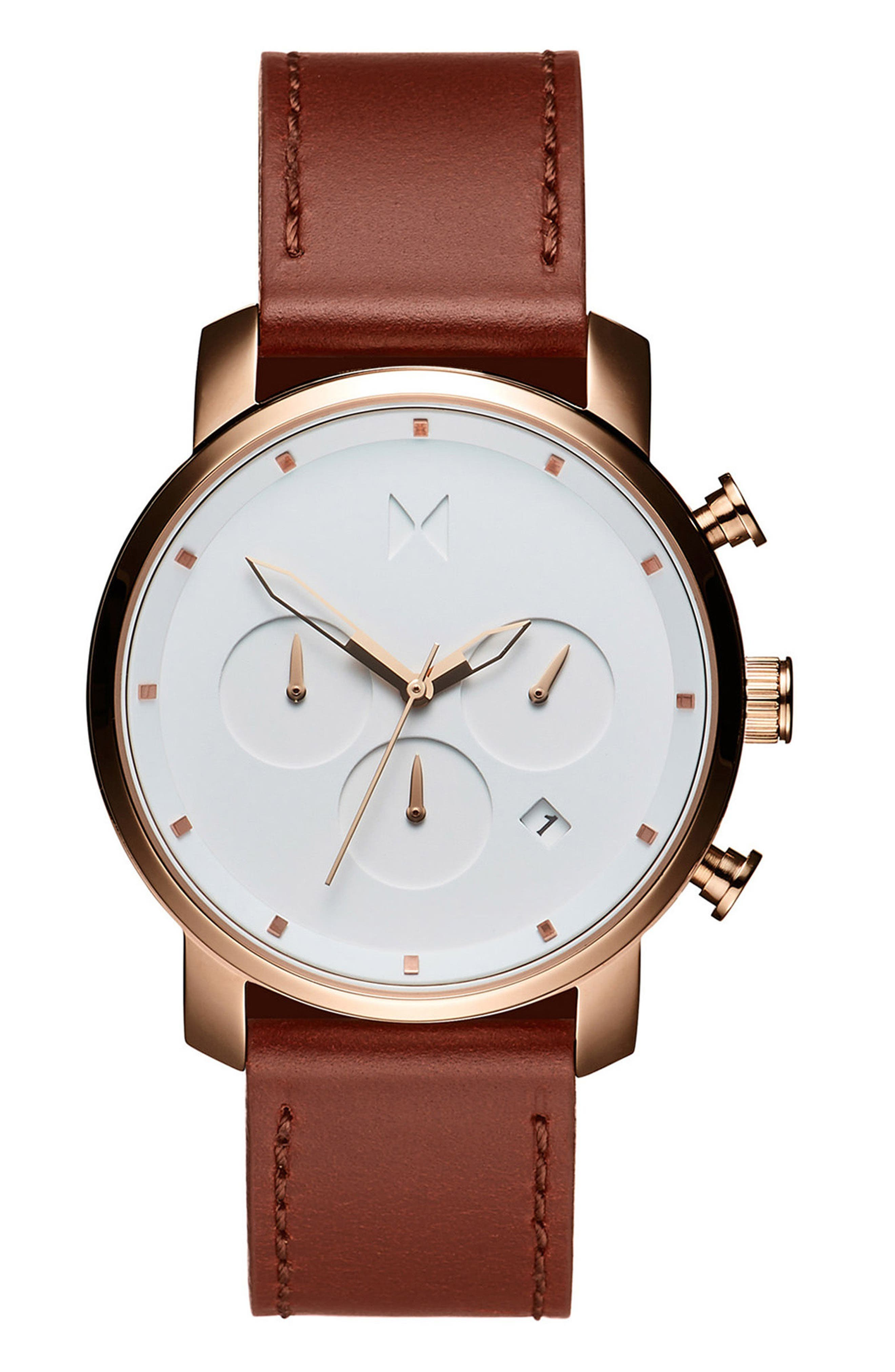 MVMT The Chrono Chronograph Leather Strap Watch, 40Mm in White/ Natural
