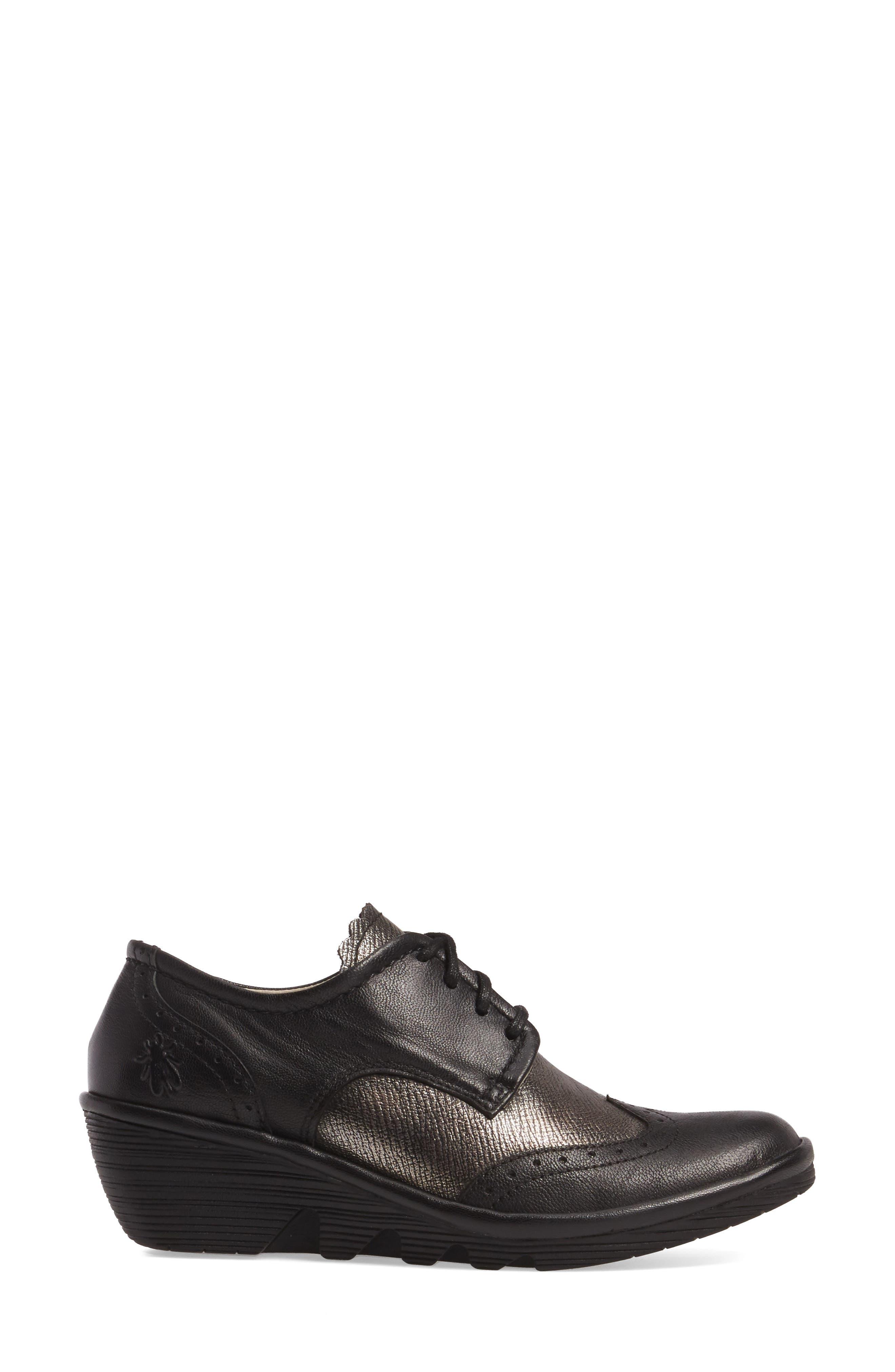 'Palt' WedgePump,                             Alternate thumbnail 3, color,                             Black/ Antique Silver Leather