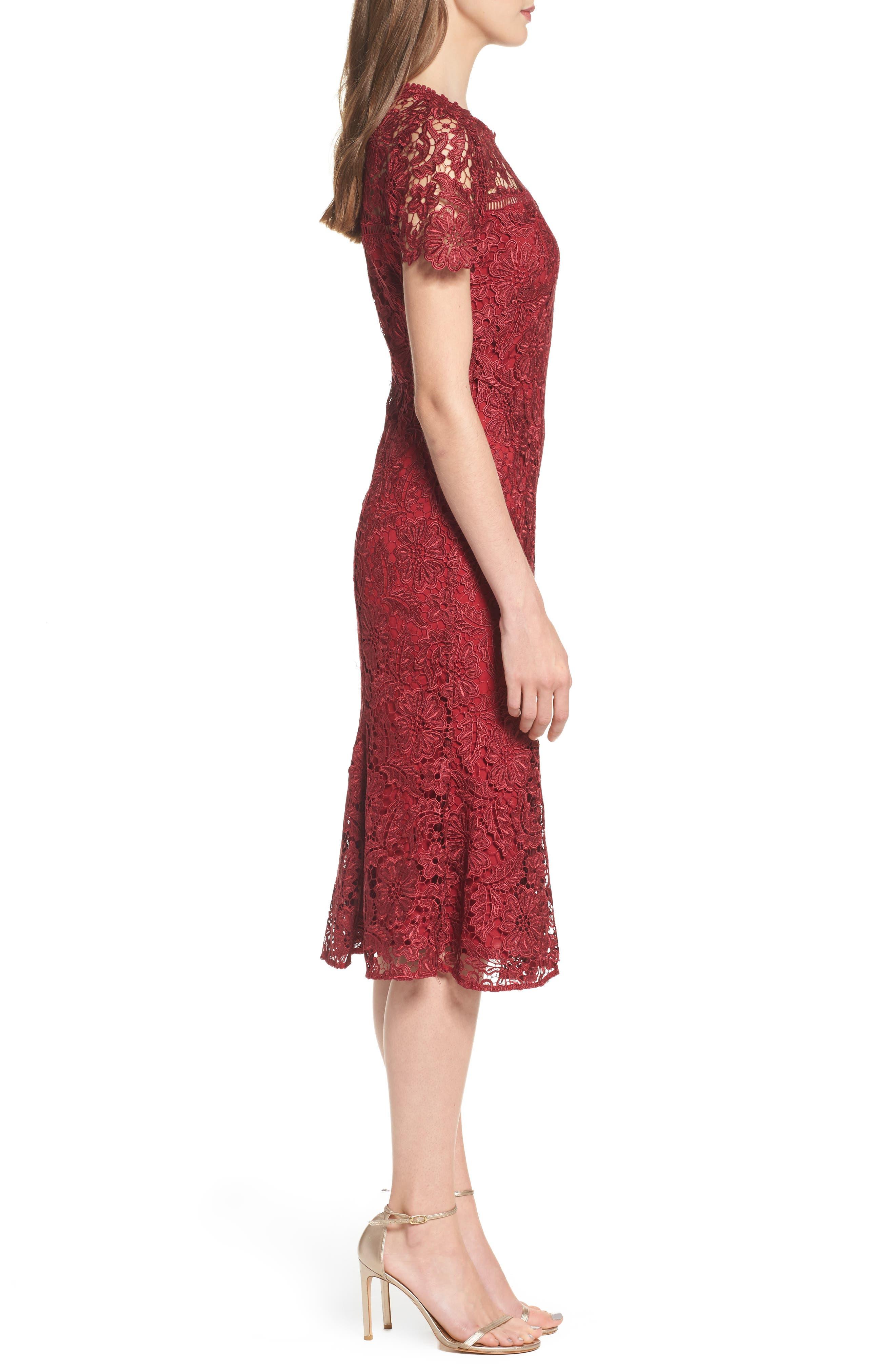 Park Lace Midi Dress,                             Alternate thumbnail 3, color,                             Cranberry