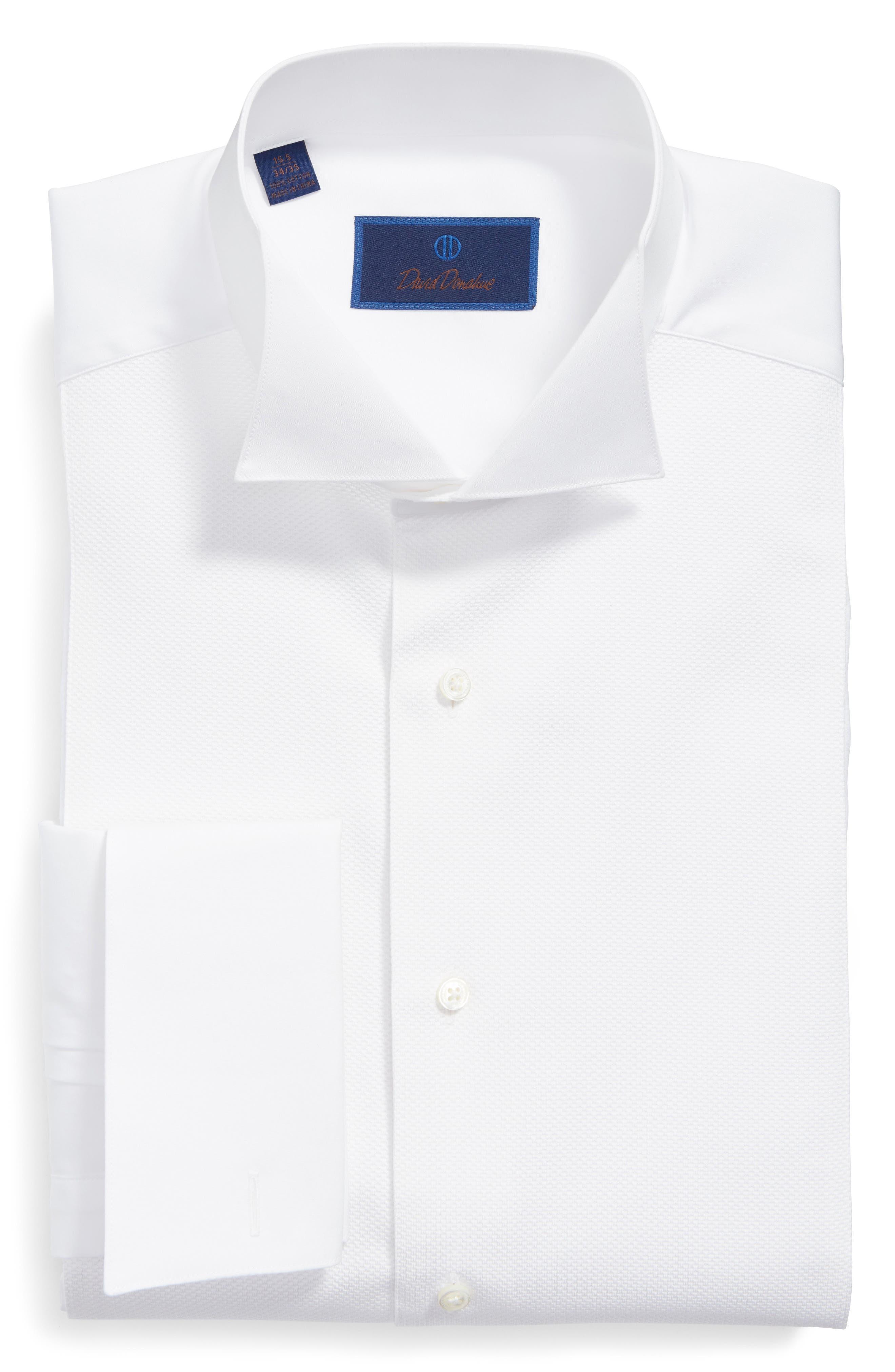 Main Image - David Donahue Regular Fit French Cuff Tuxedo Shirt