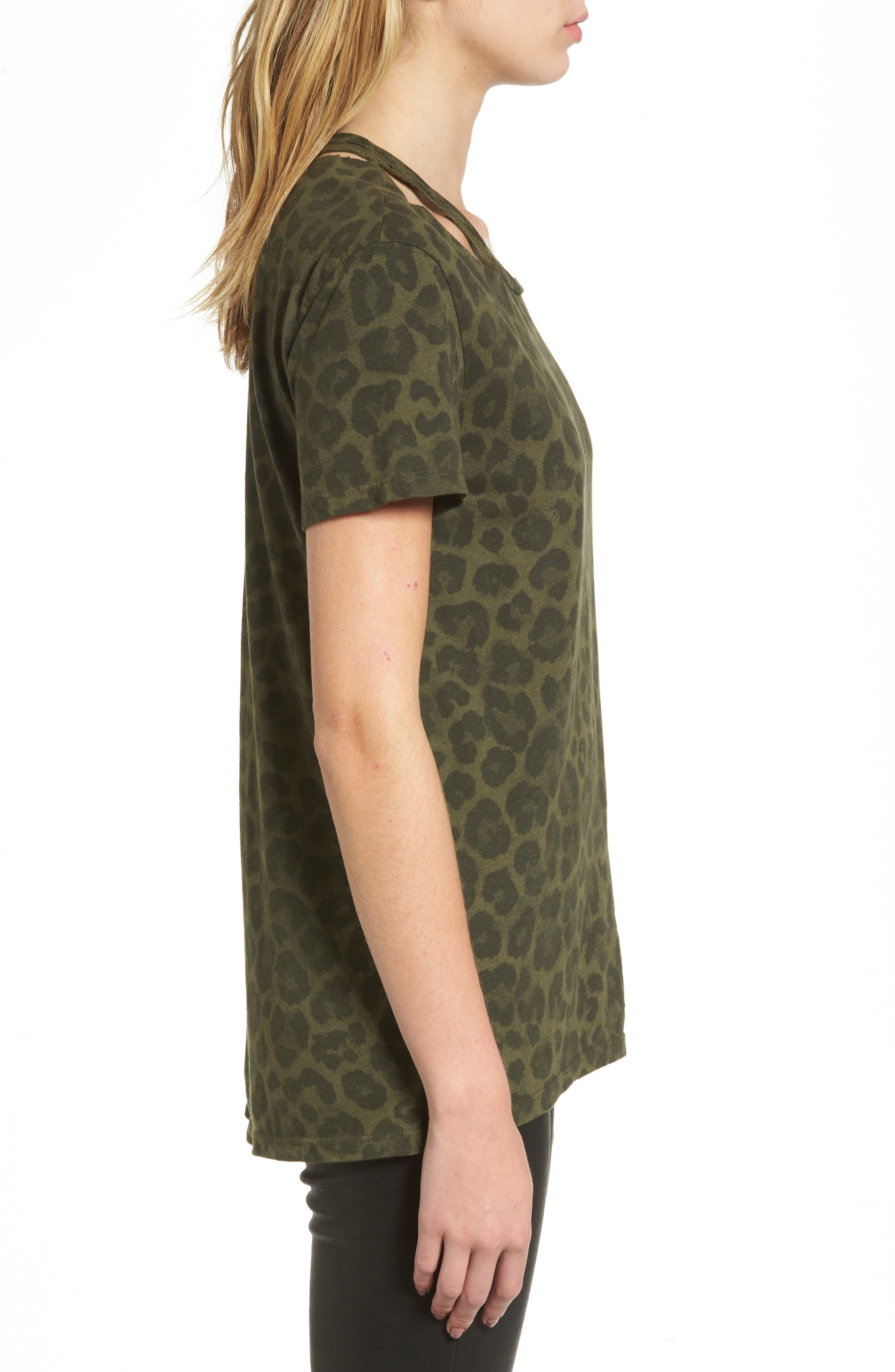 Leopard Print Tee,                             Alternate thumbnail 3, color,                             Olive