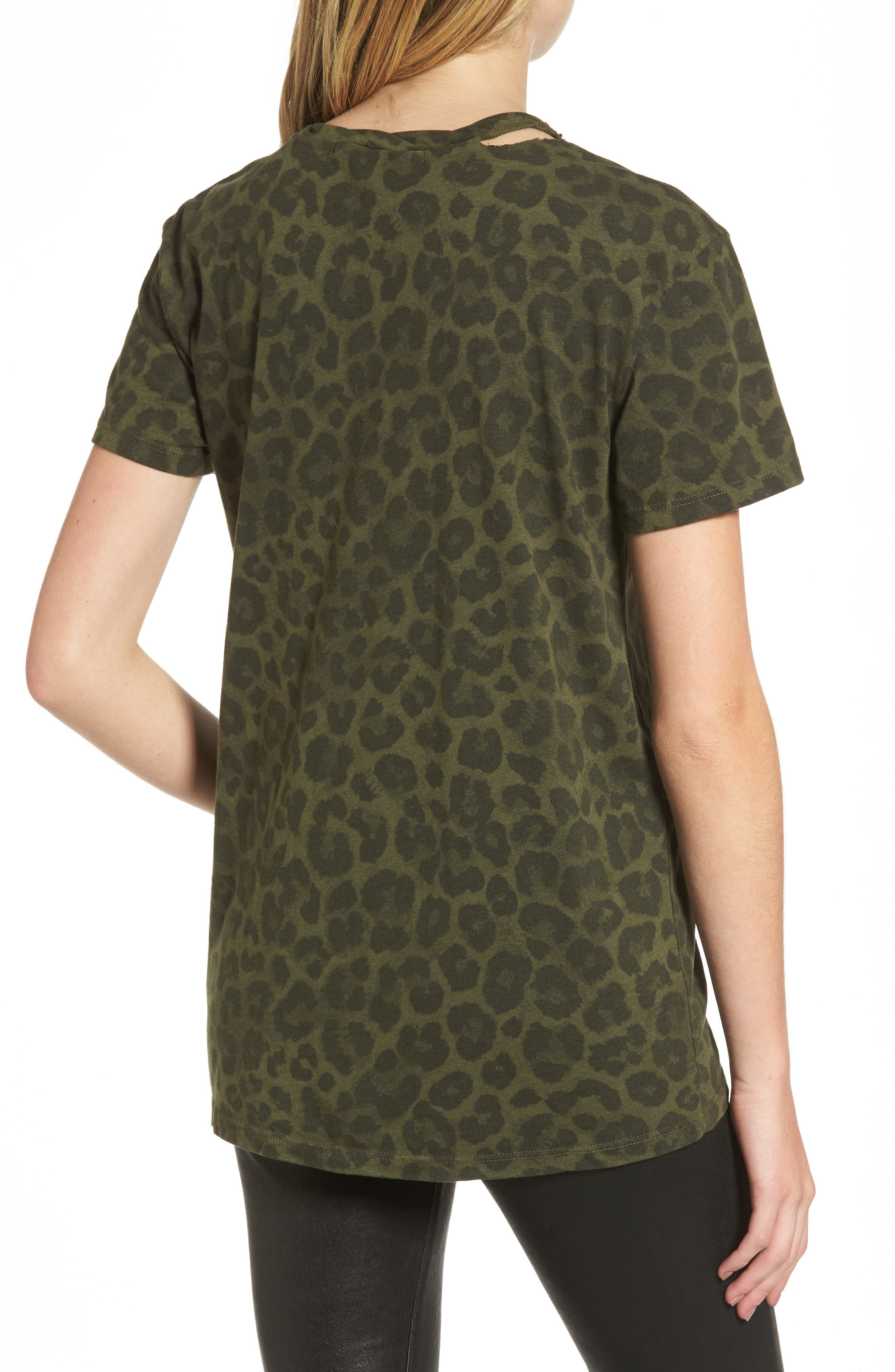 Leopard Print Tee,                             Alternate thumbnail 2, color,                             Olive