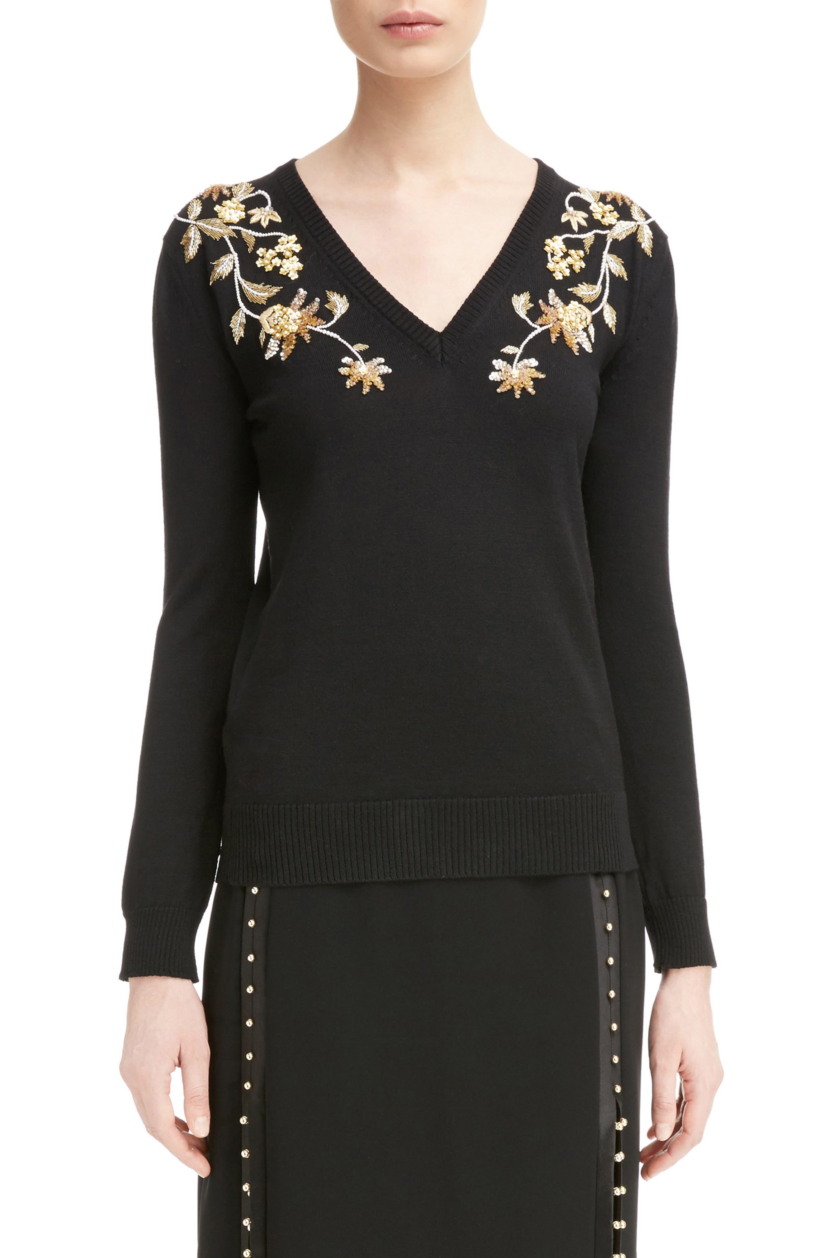 Piera Beaded Merino Wool Sweater,                             Main thumbnail 1, color,                             Black