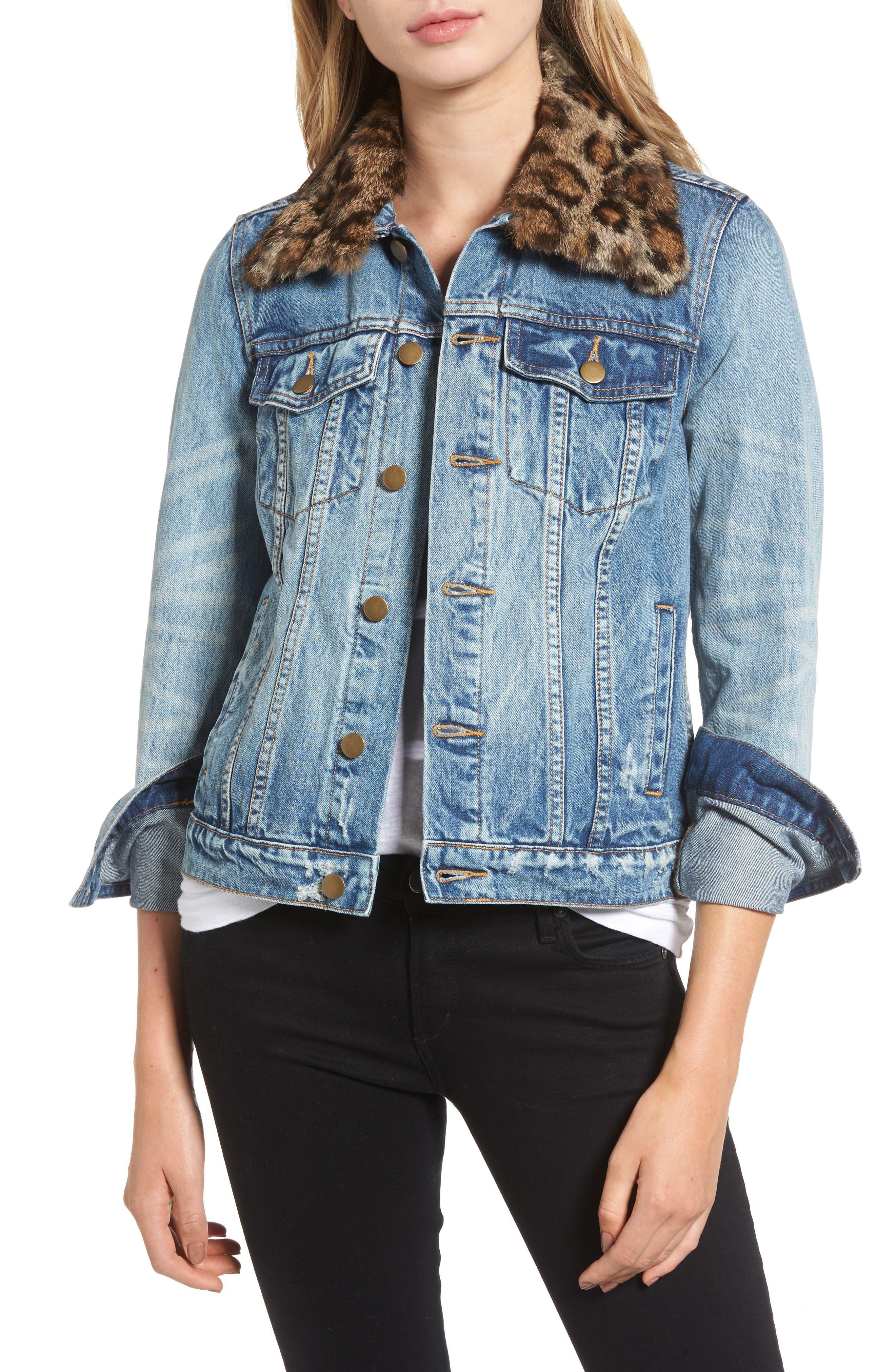 Pam & Gela Denim Jacket with Detachable Genuine Fur Collar
