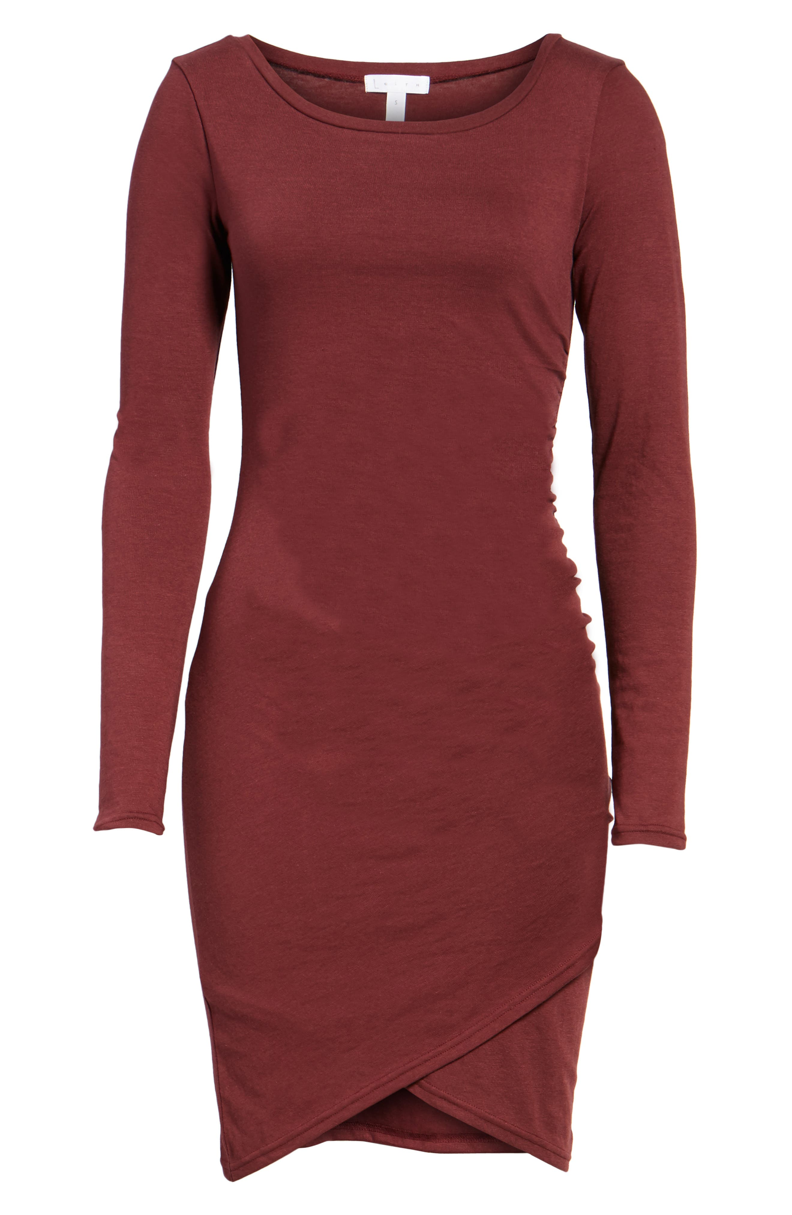 Ruched Long Sleeve Dress,                             Alternate thumbnail 6, color,                             Red Tannin