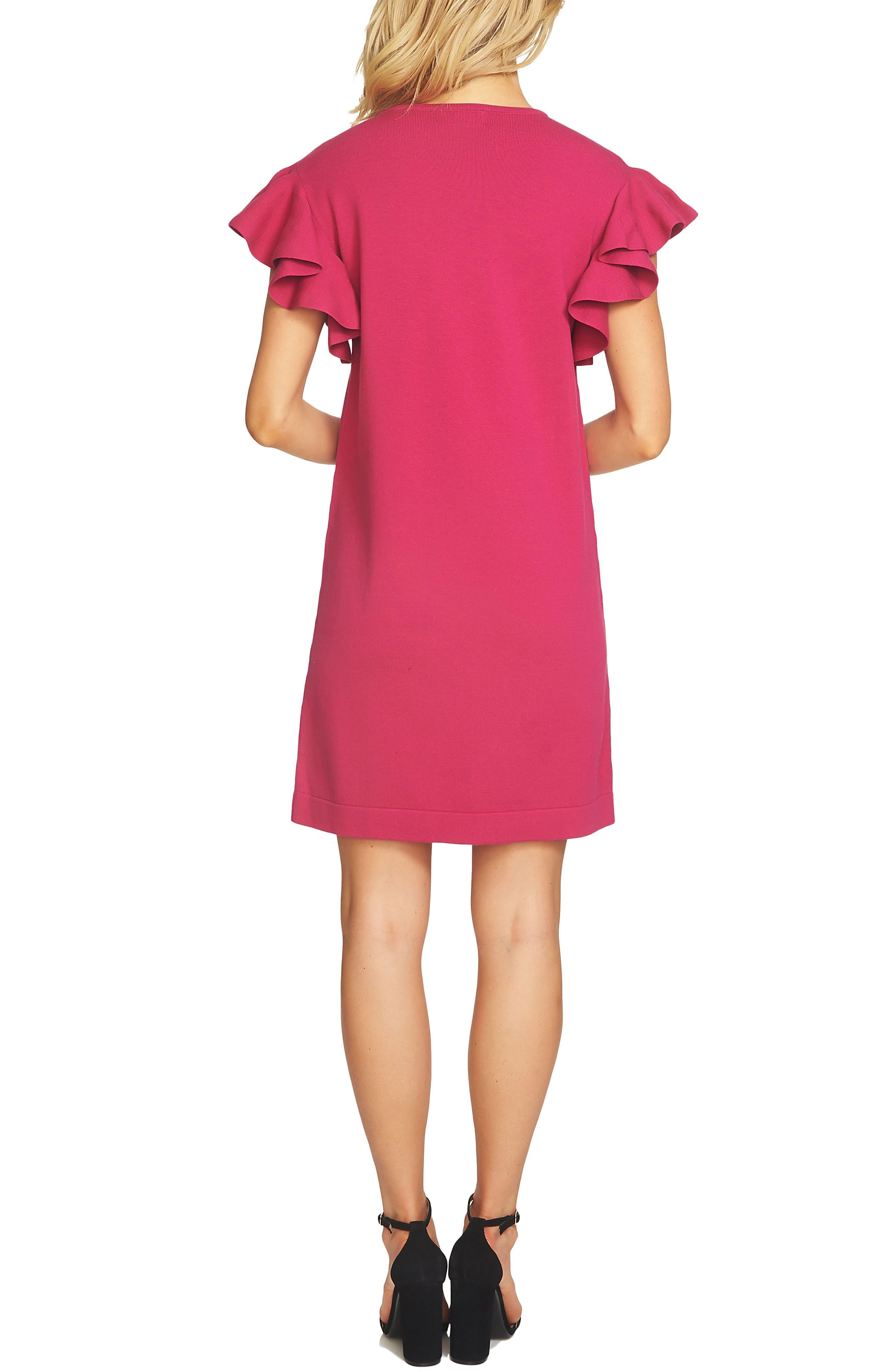 Ruffle Sleeve Sweater Dress,                             Alternate thumbnail 2, color,                             Vibrant Cerise
