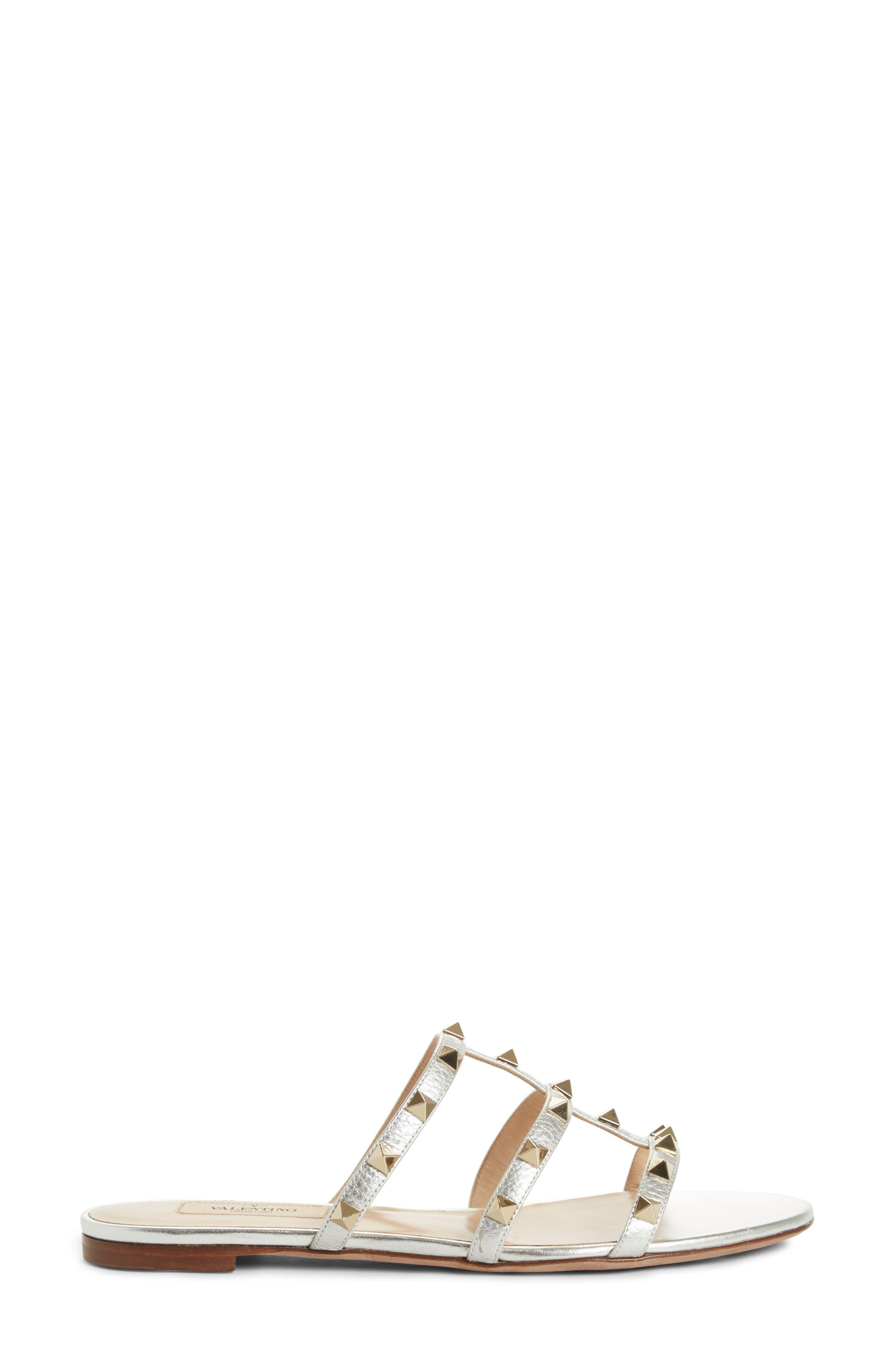 Rockstud Cage Slide Sandal,                             Alternate thumbnail 3, color,                             Metallic Silver