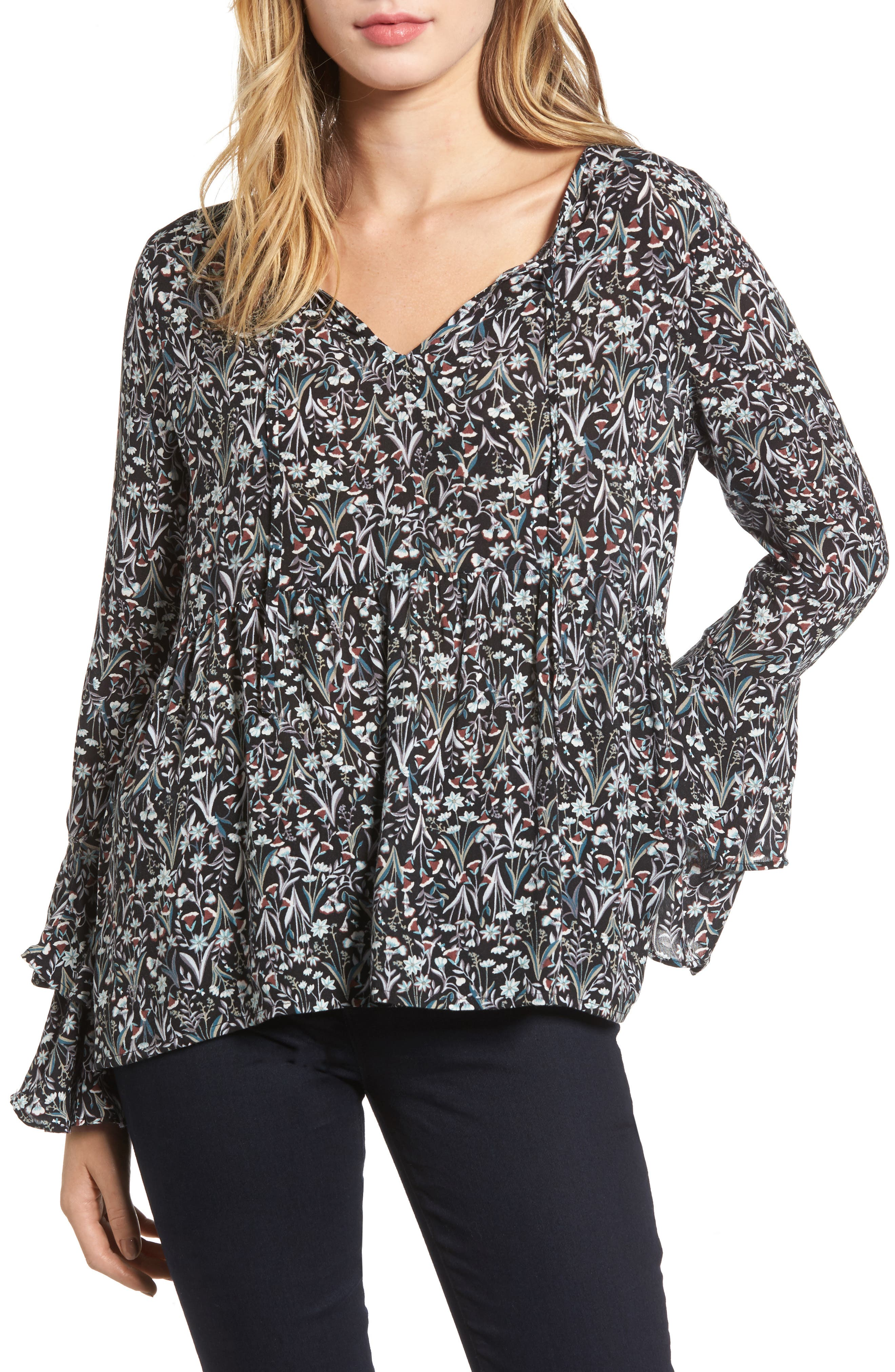 Bell Sleeve Top,                         Main,                         color, Black Compact Floral