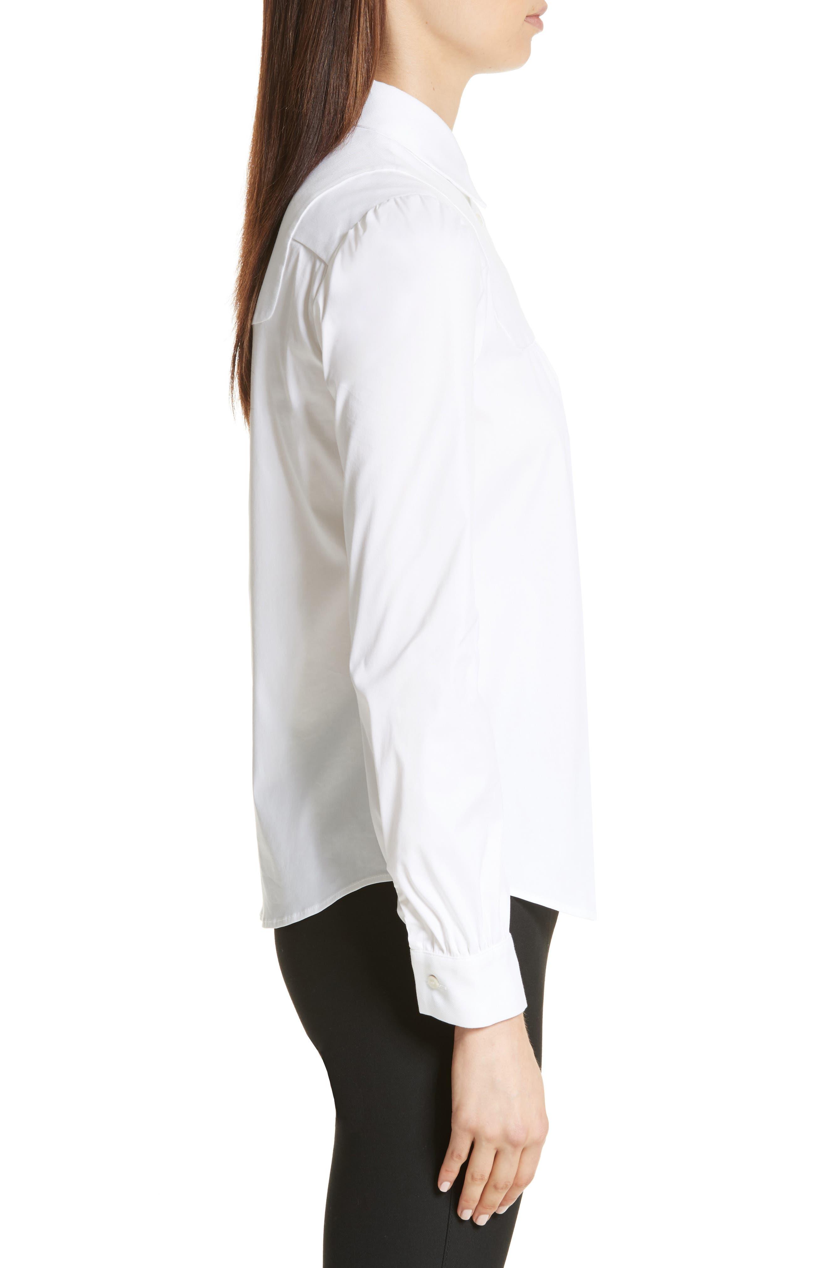 Stretch Poplin & Oxford Shirt,                             Alternate thumbnail 3, color,                             Bianco